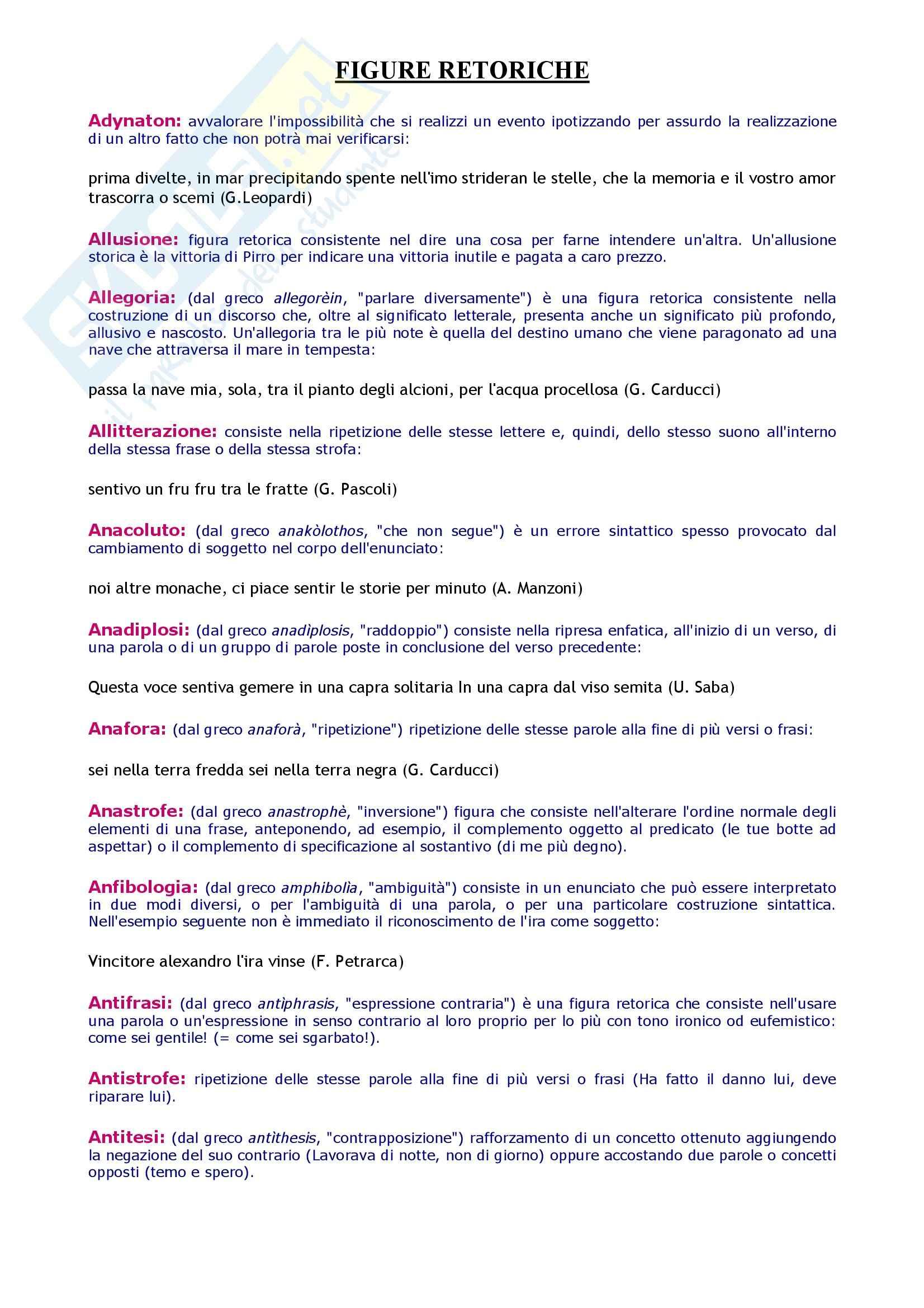 Tecniche espressive e composizione testi in italiano - dizionario figure retoriche