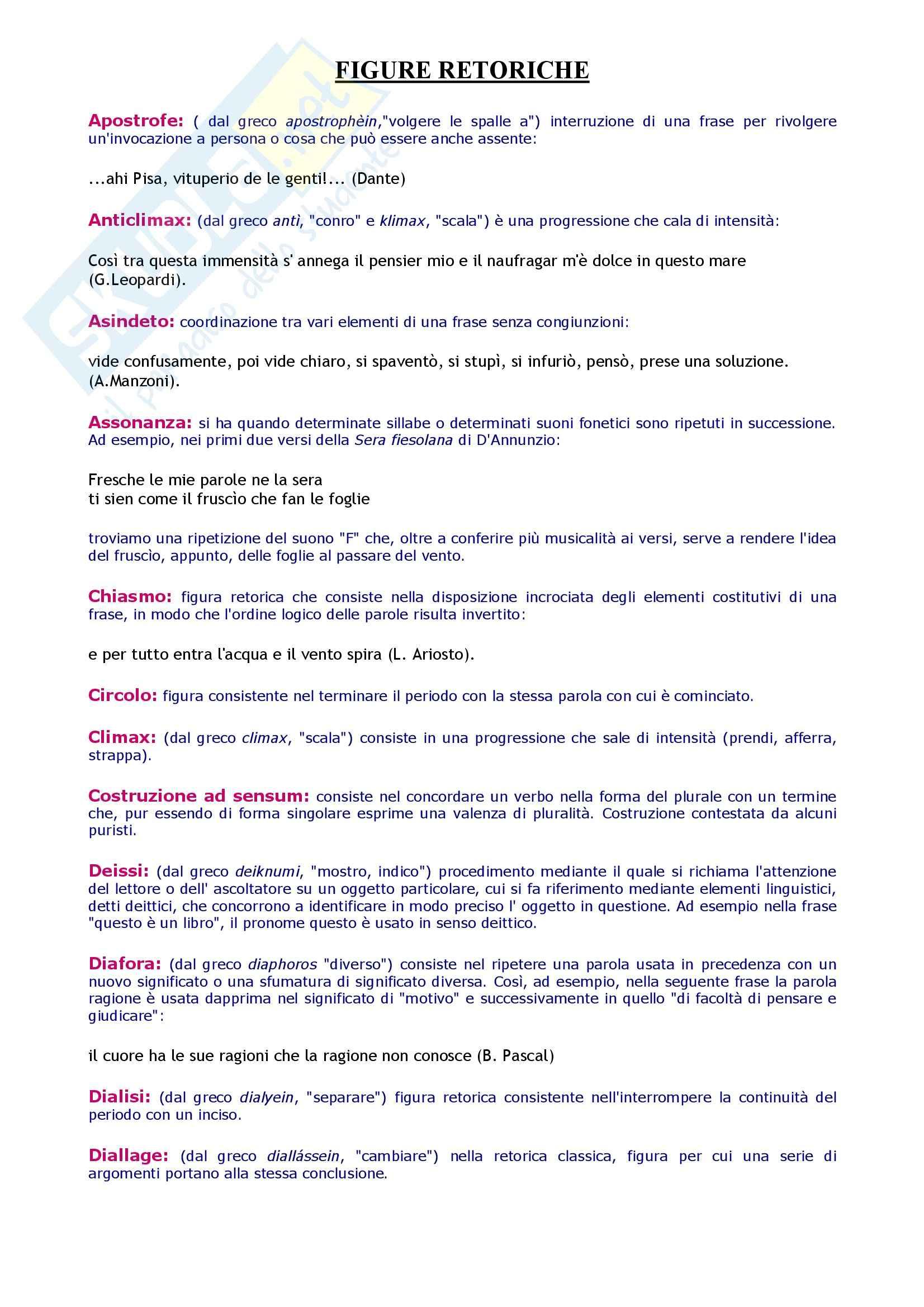 Tecniche espressive e composizione testi in italiano - dizionario figure retoriche Pag. 2