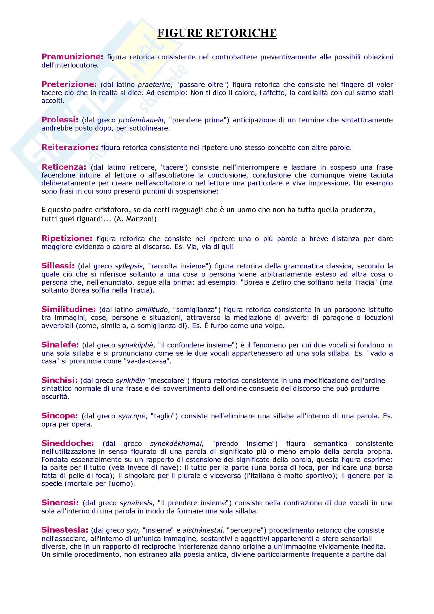 Tecniche espressive e composizione testi in italiano - dizionario figure retoriche Pag. 6