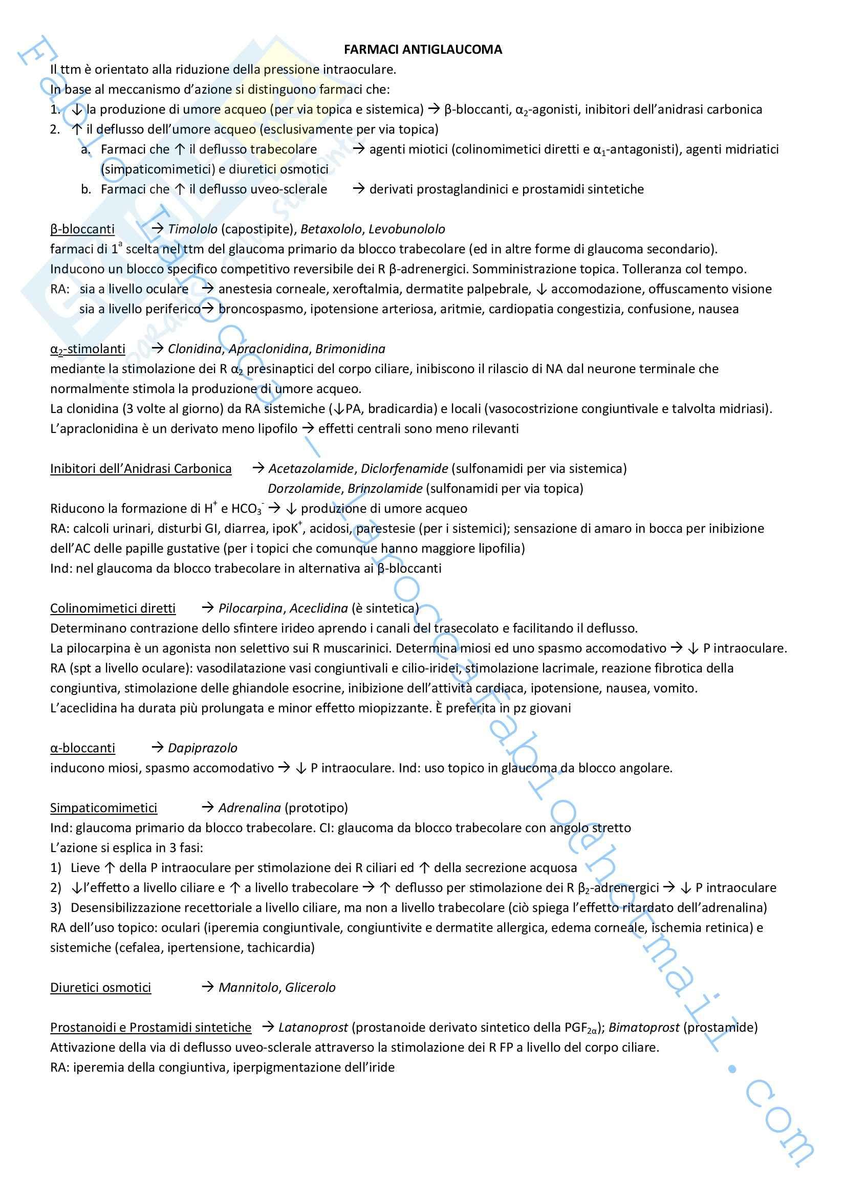 Riassunto esame Farmacologia, prof. Rossi, libro consigliato Farmacologia Pag. 96