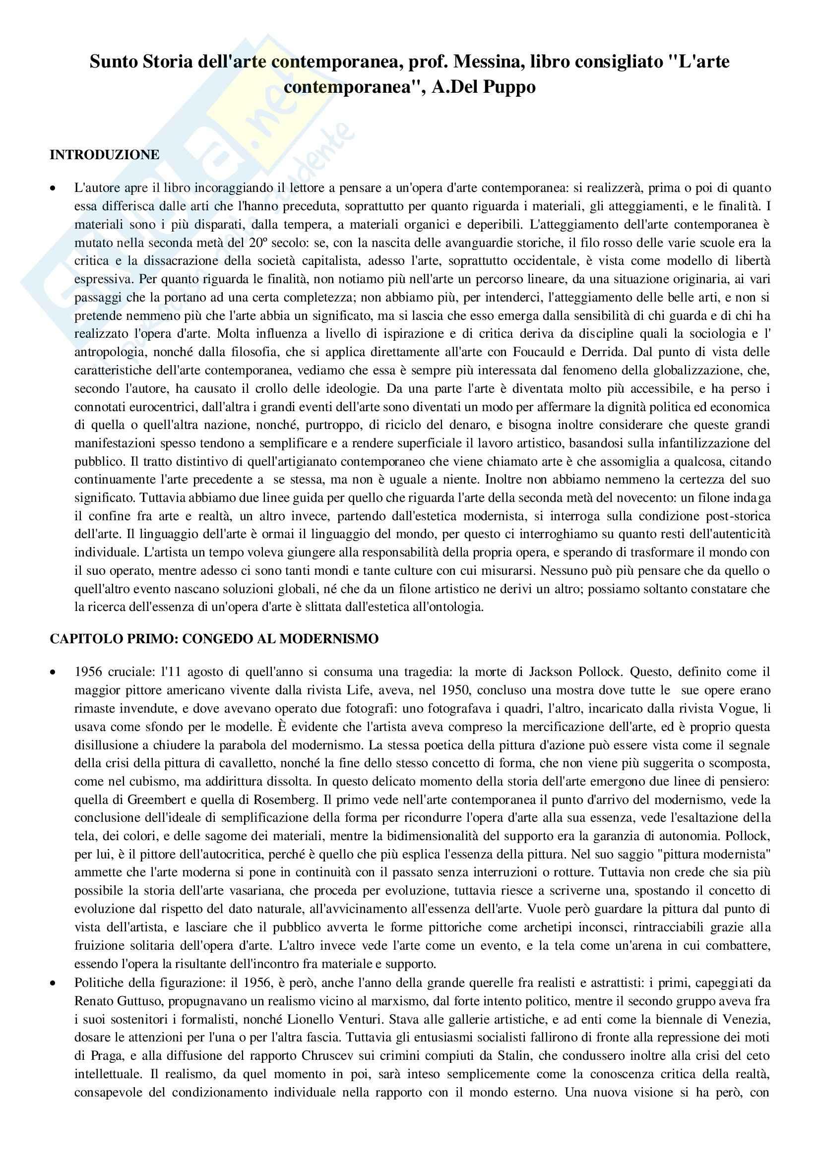 Riassunto esame Storia dell'arte contemporanea, prof. Messina, libro consigliato L'arte contemporanea, .Del Puppo