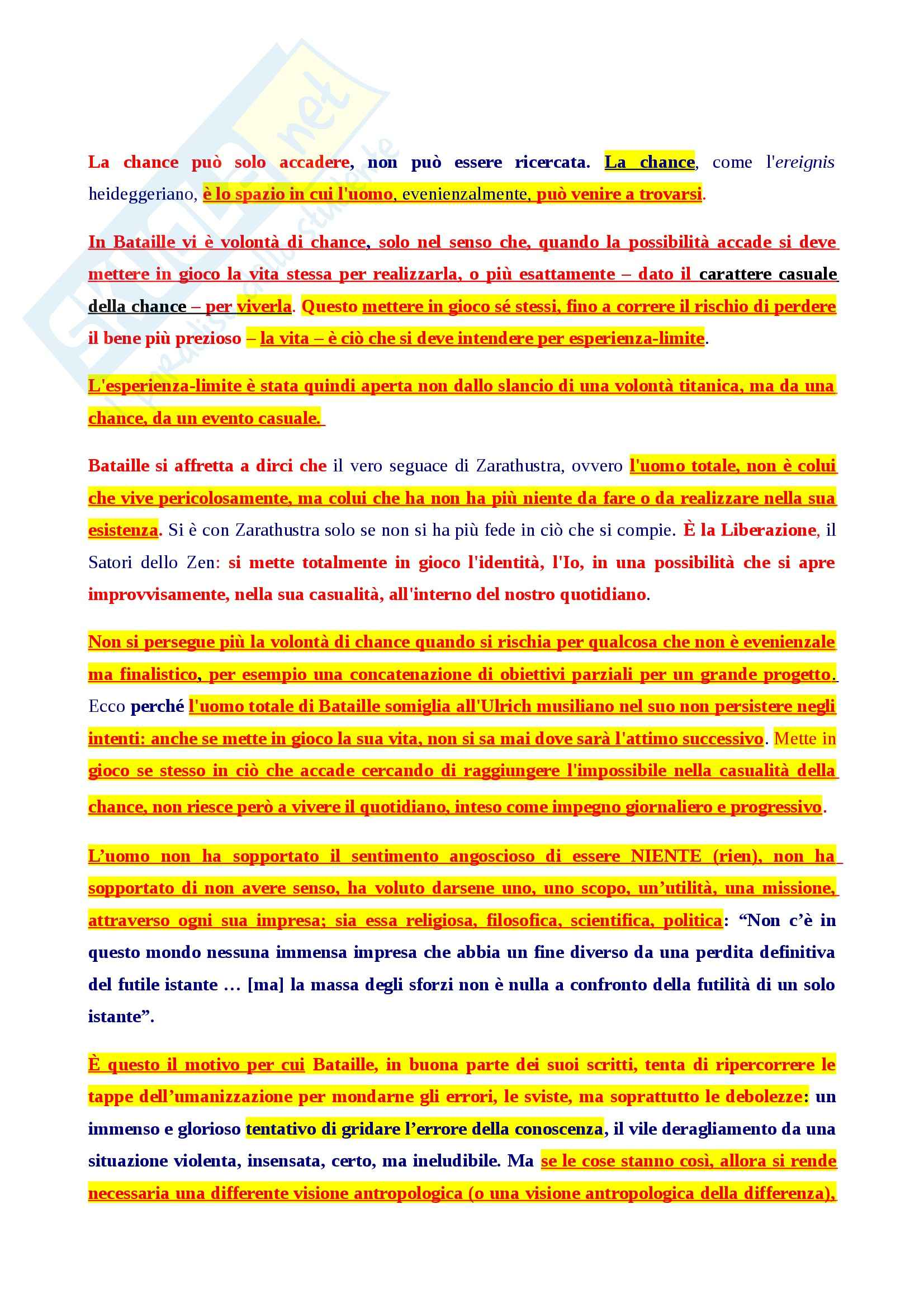 Riassunto esame Storia della filosofia, prof. Fornari, libro consigliato Il colpevole, Bataille