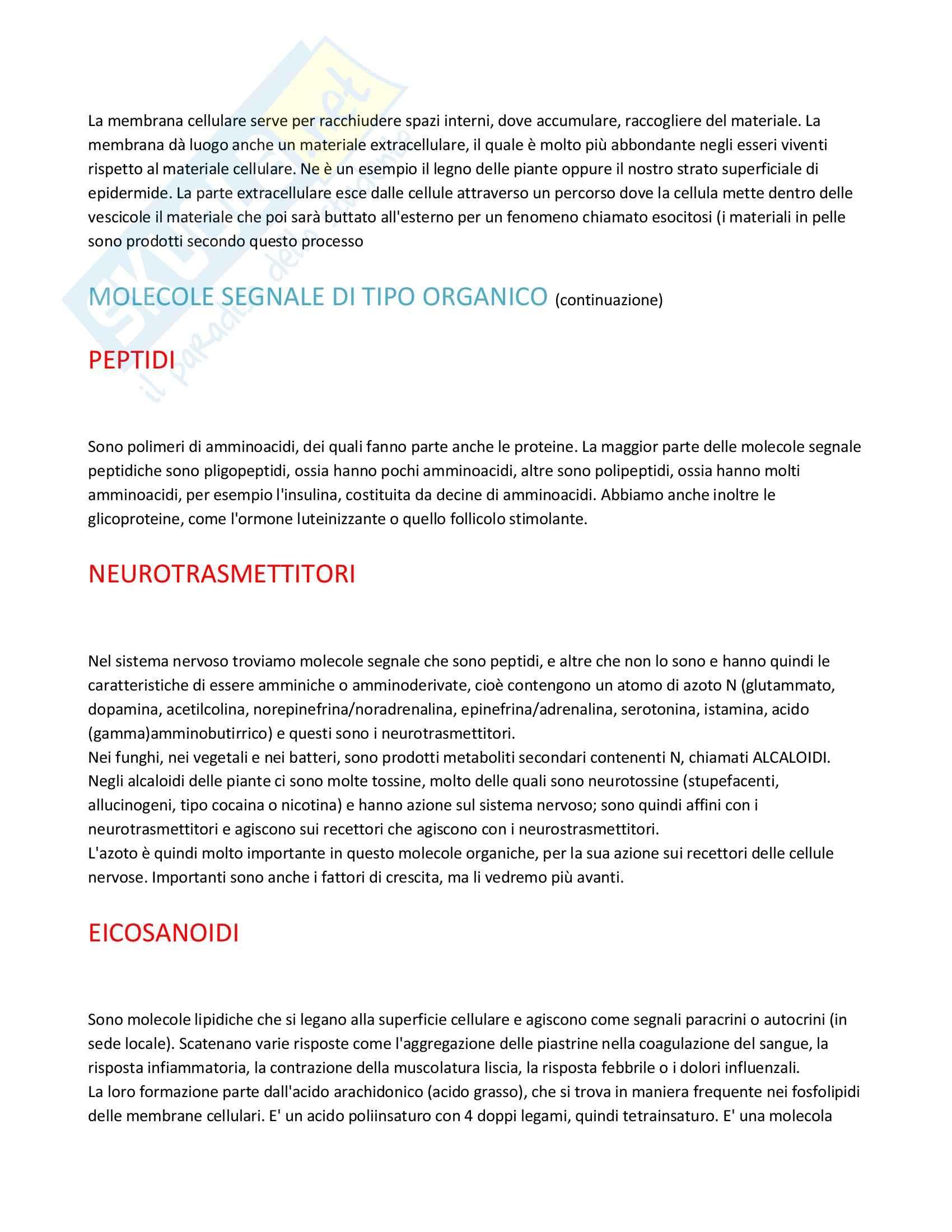 Fisiologia generale - molecole segnale e recettori