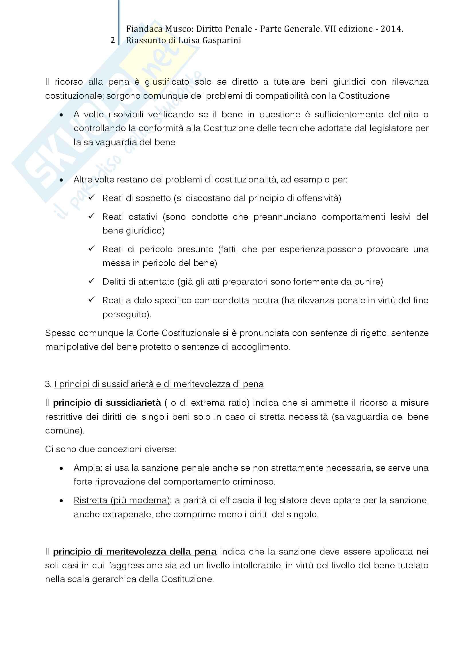 Riassunto esame Diritto Penale I, professor Prosdocimi, libro consigliato Diritto Penale Parte Generale, Fiandaca Musco Pag. 2