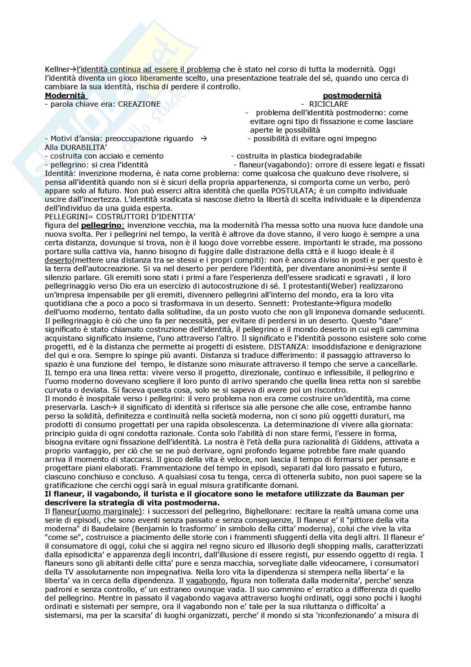 Riassunto esame Sociologia, prof. Palumbo, libro consigliato La società dell'incertezza, Bauman