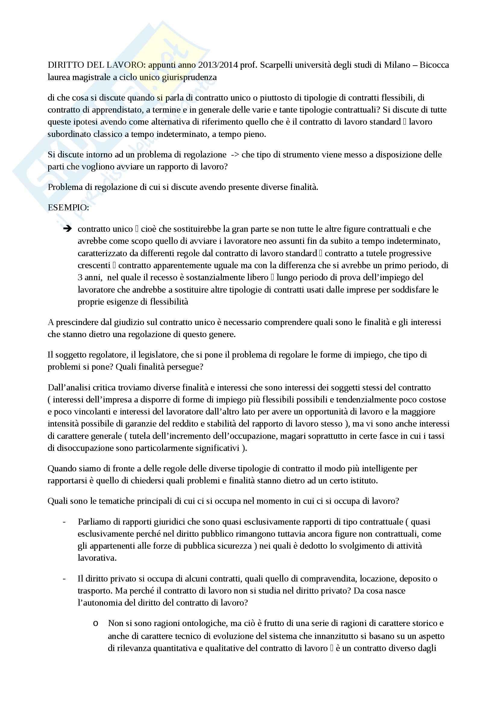 Diritto del lavoro - Appunti