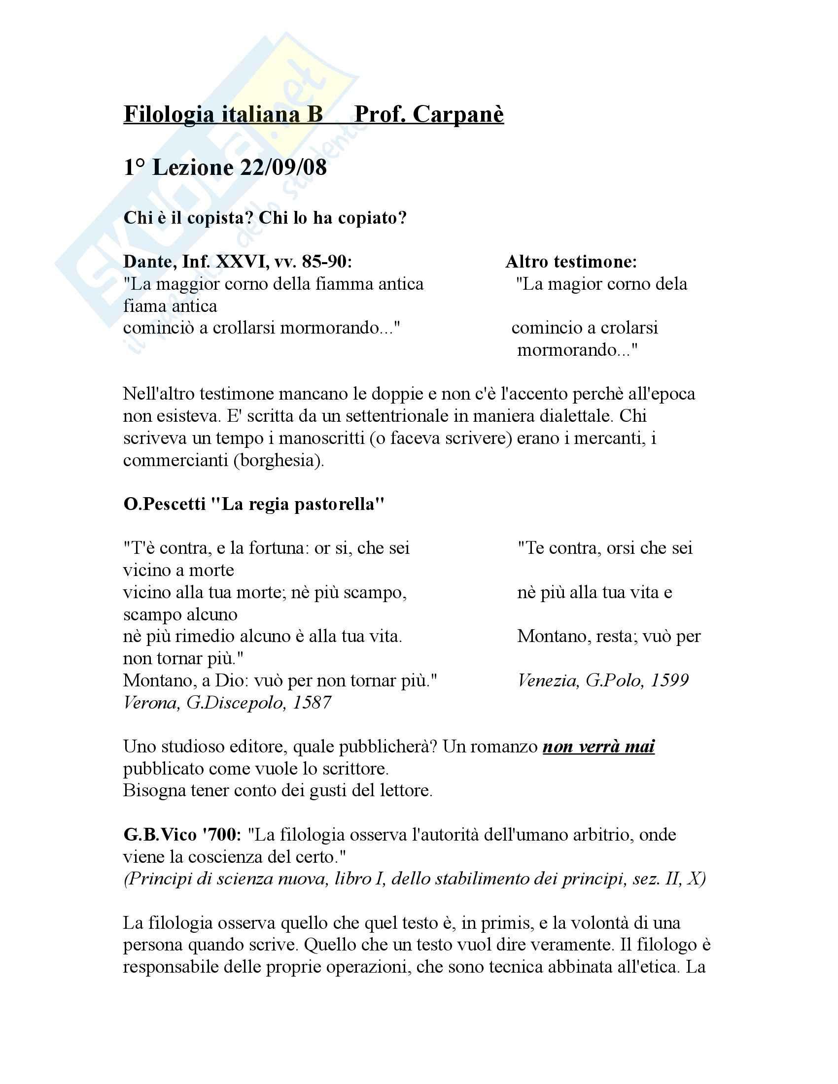 Filologia italiana - Appunti