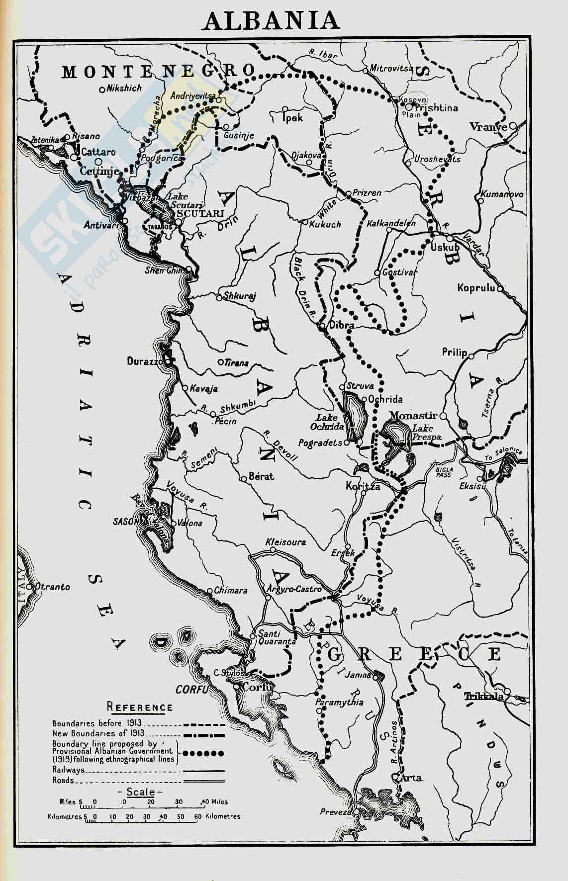 Prima Guerra Mondiale - Albania, mappa 1919