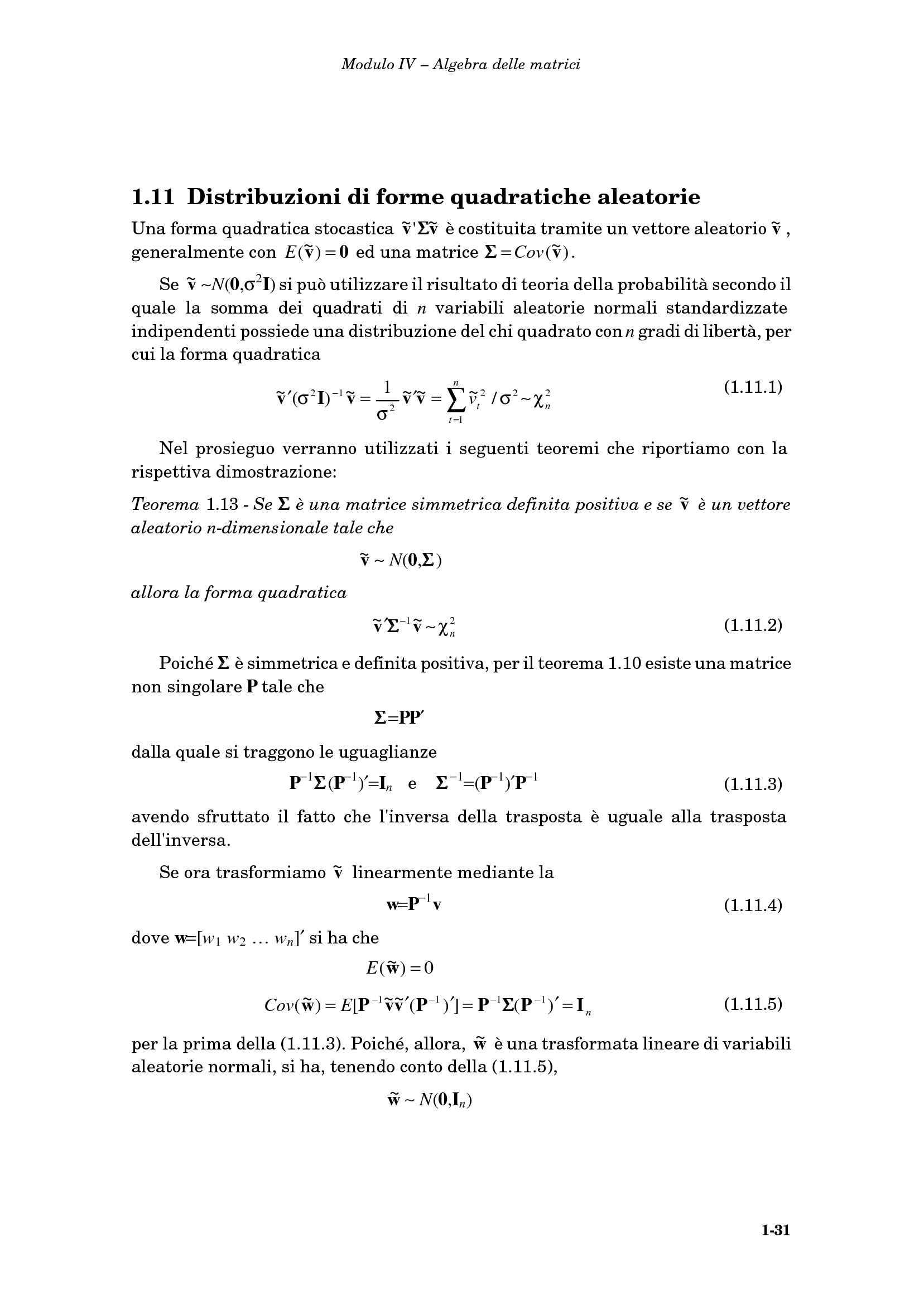 Distribuzione forme quadratiche aleatorie