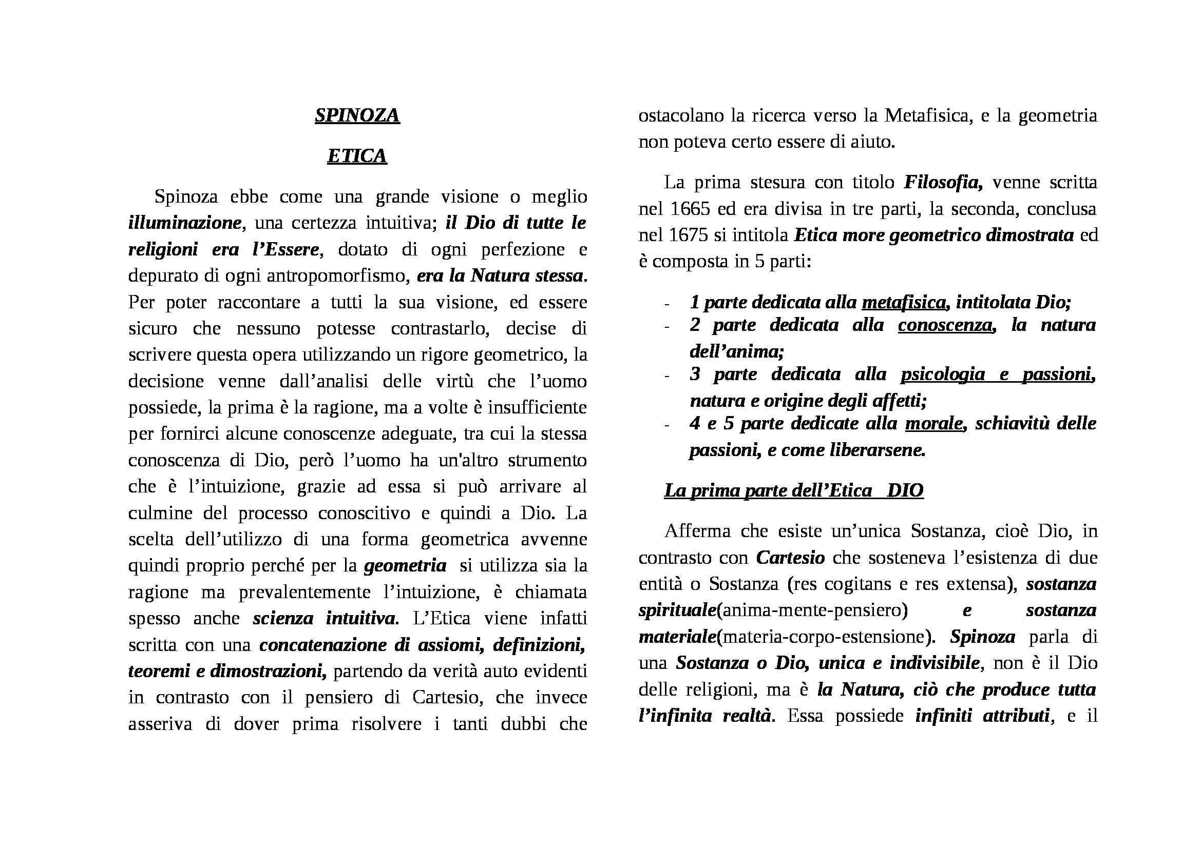 Spinoza, Etica - Appunti