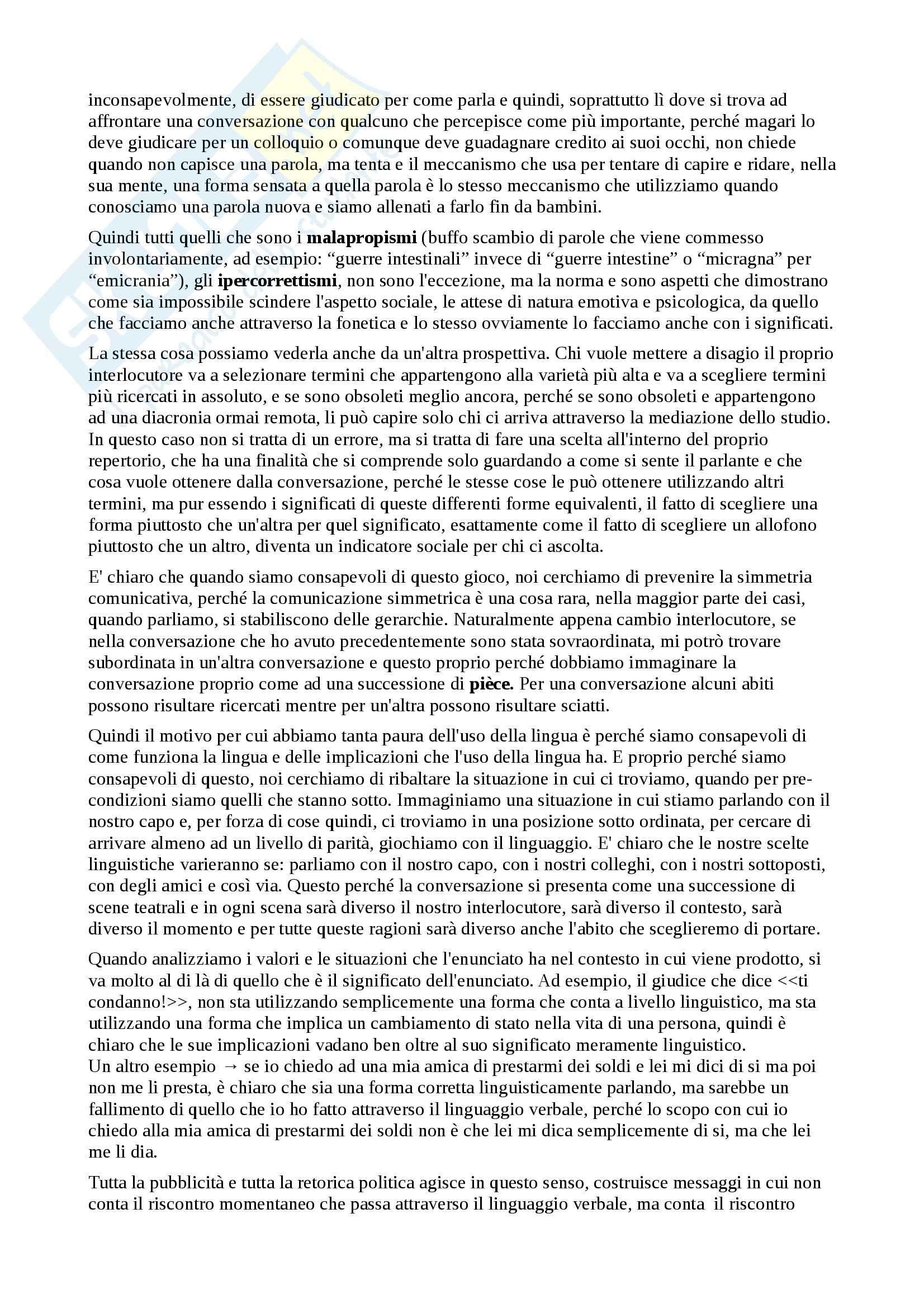 Riassunto esame linguistica e sociolinguistica, prof. Dragotto, libro consigliato Introduzione alla sociologia, Yule Pag. 26