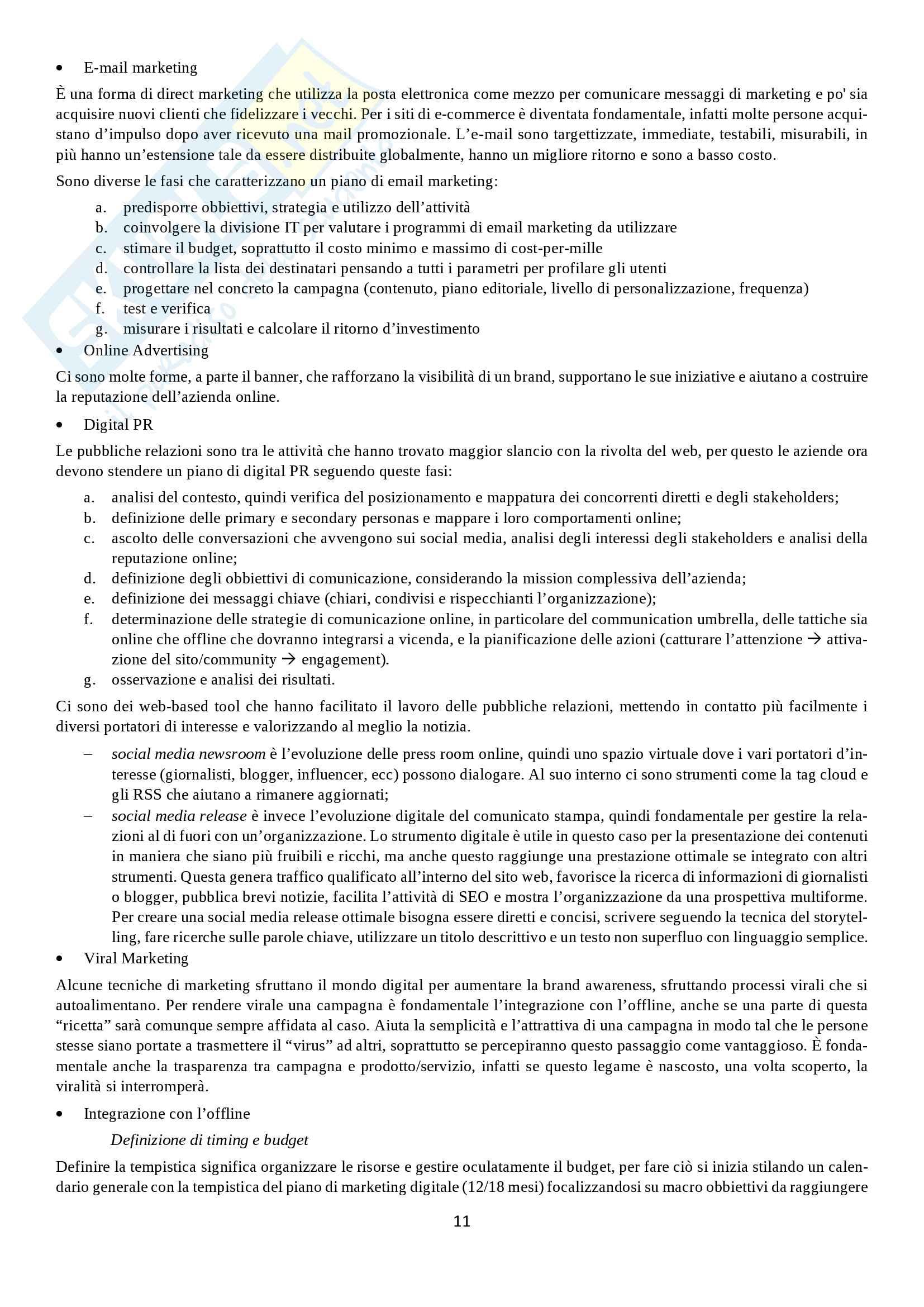 Riassunto esame di Laboratorio di Web Marketing e -Comunicazione, prof. Danio Berti, libro consigliato Marketing Digitale di Paola Peretti Pag. 11