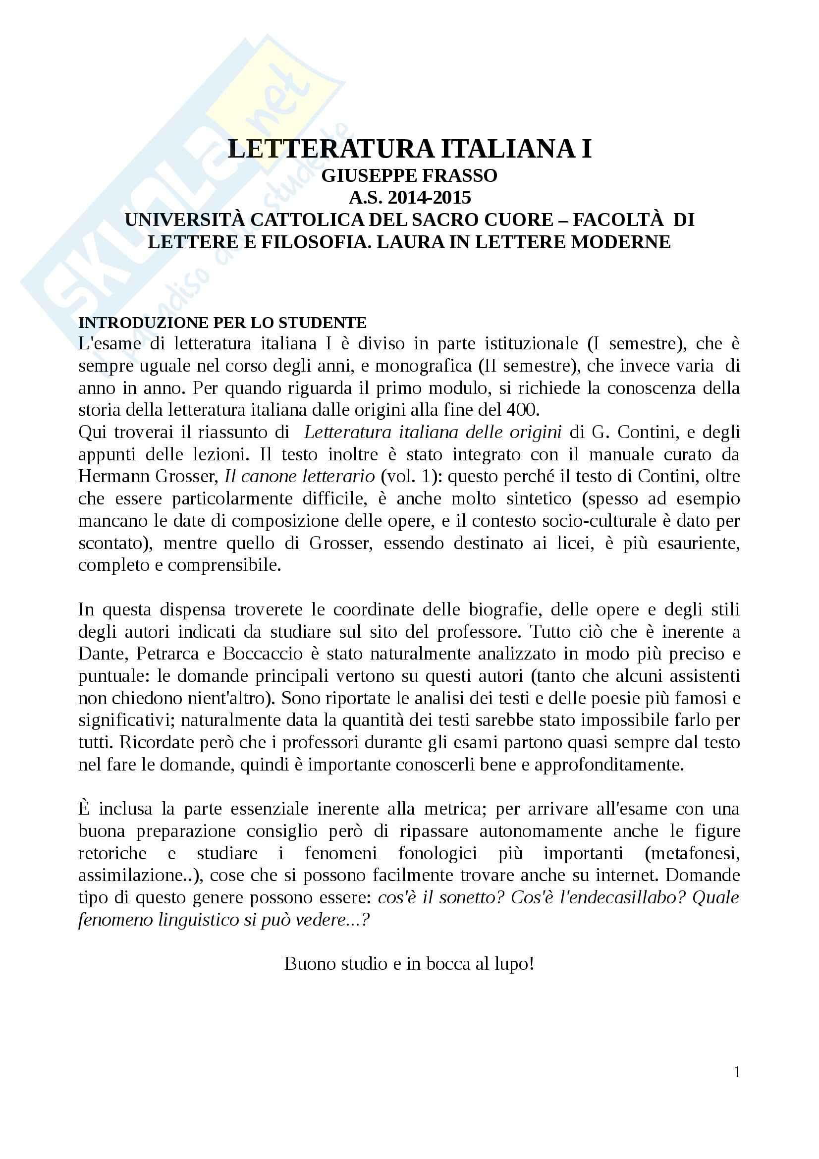 Riassunto esame Letteratura italiana I, prof. Frasso, libro consigliato Letteratura italiana delle origini, Contini