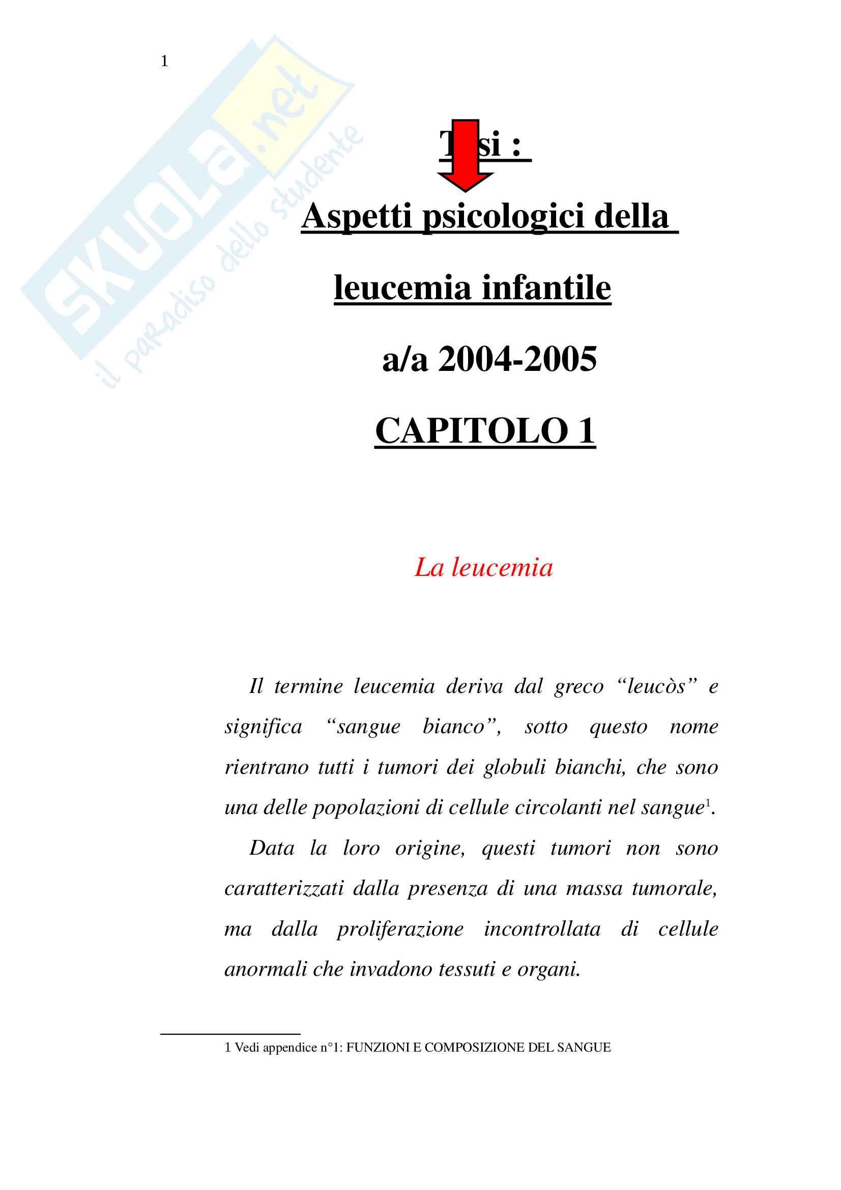 Tesi, Aspetti psicologici della leucemia infantile Pag. 1