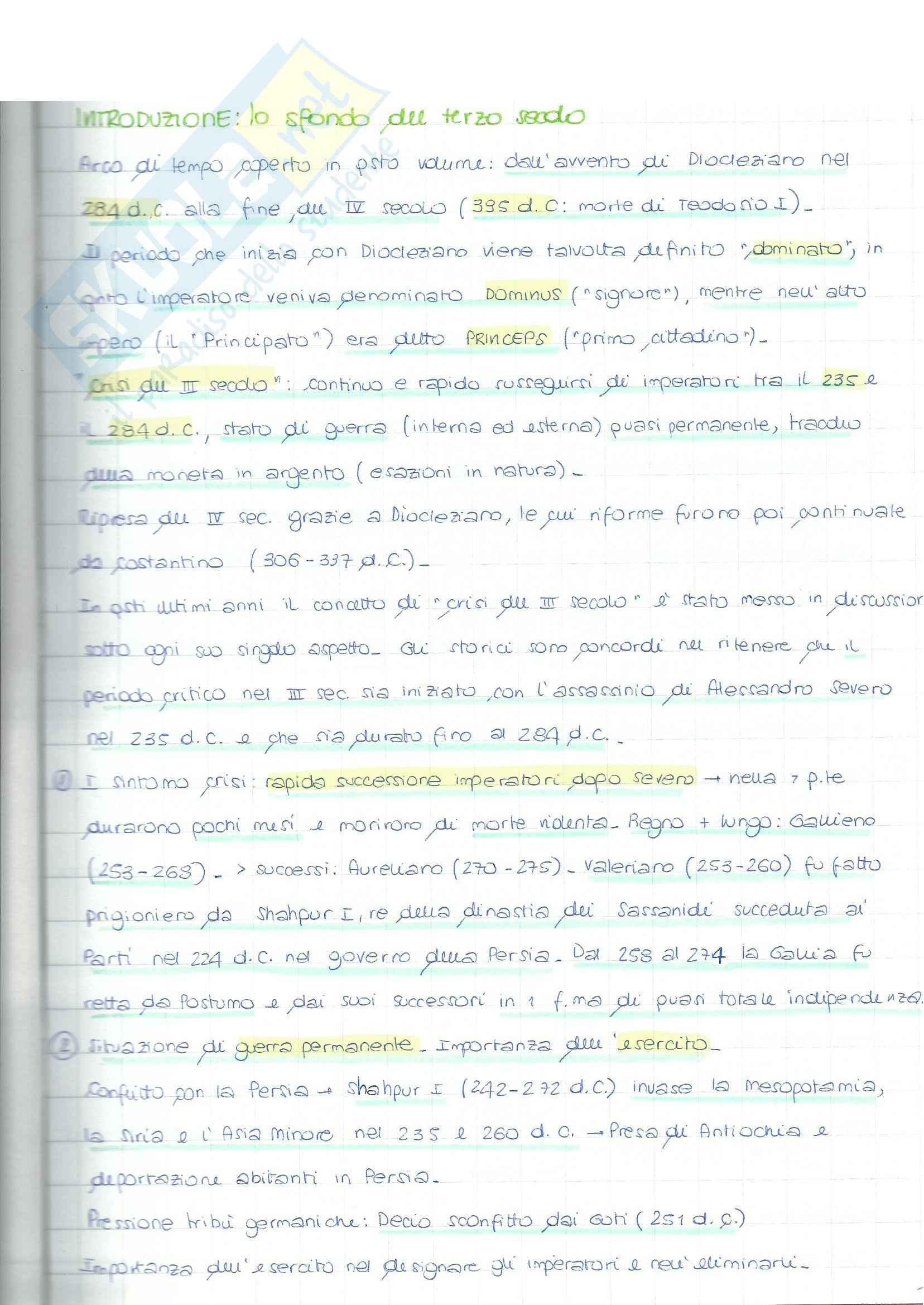 Riassunto esame Storia Bizantina, prof. Bussi, libro consigliato Il Tardo Impero Romano di Cameron