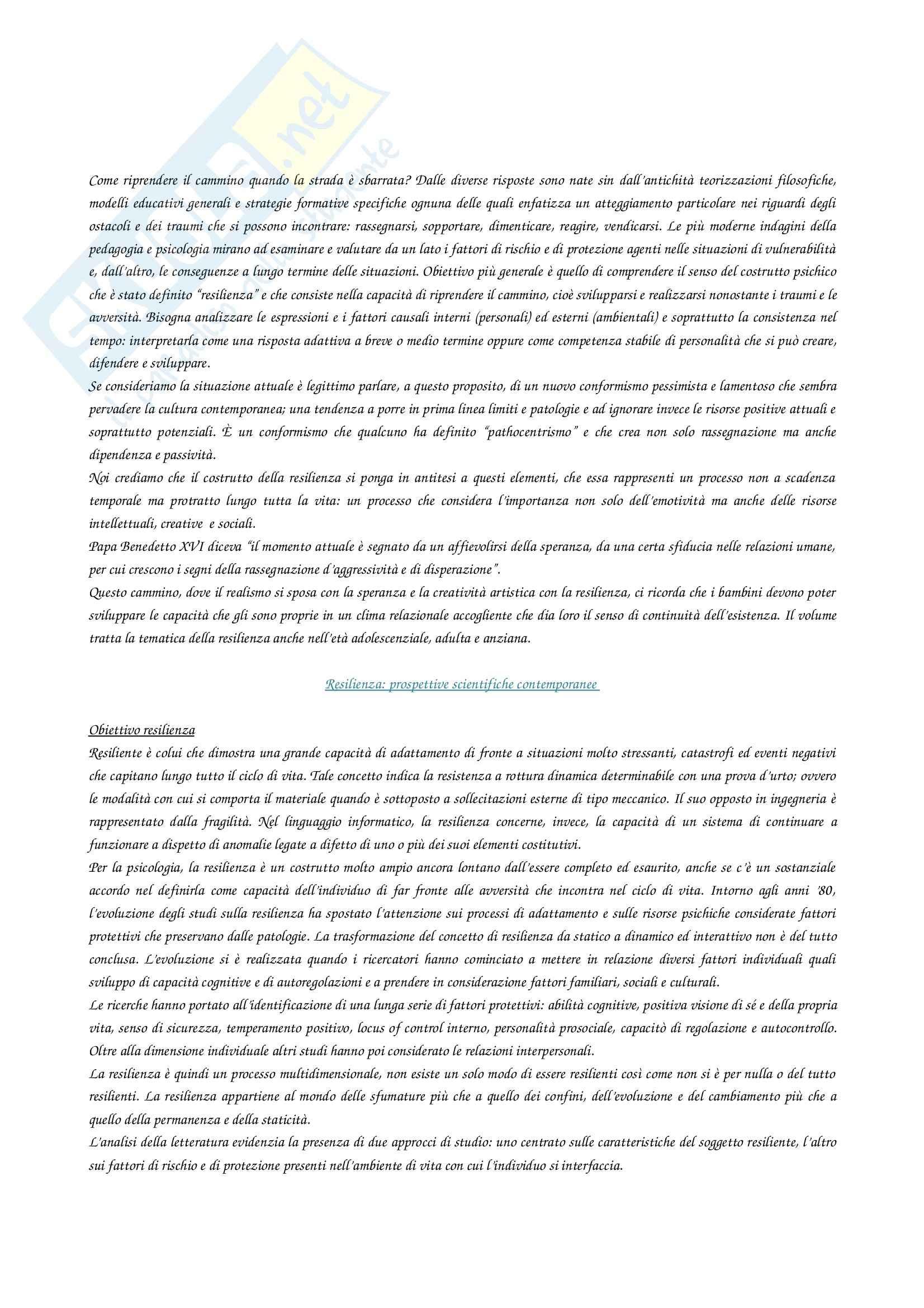Riassunto esame Psicologia, prof. Castelli, libro consigliato Creatività e resilienza