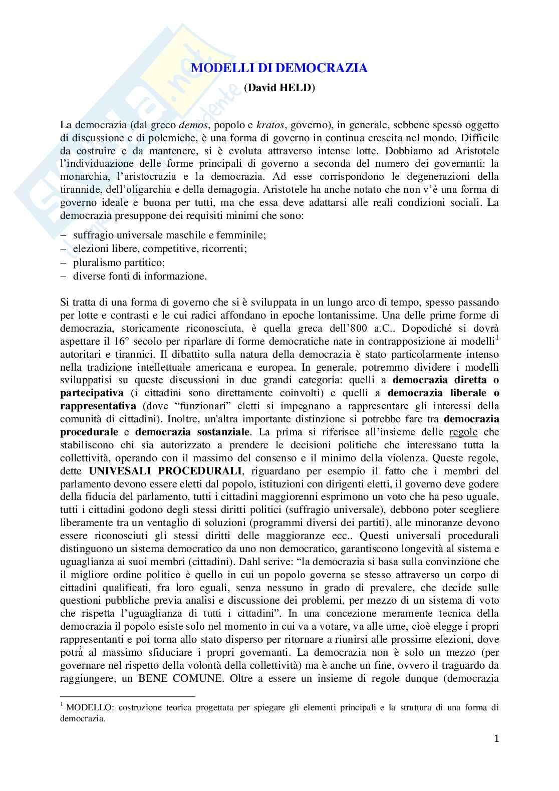 Riassunto esame Sociologia dei fenomeni politici, prof. Serio, libro consigliato prof Serio, Modelli di Democrazia, Held