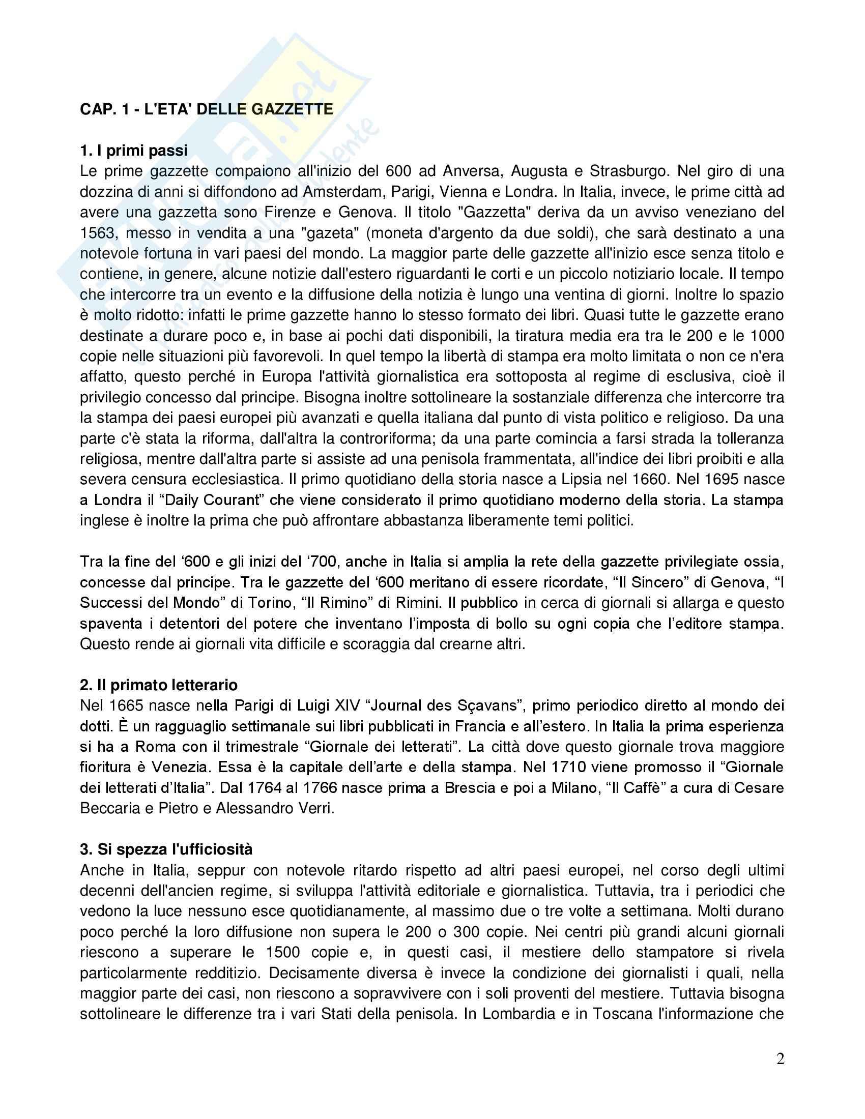 Riassunto esame Storia dei giornalismo, prof. Gallotta, libro consigliato Storia del giornalismo italiano, Murialdi Pag. 2