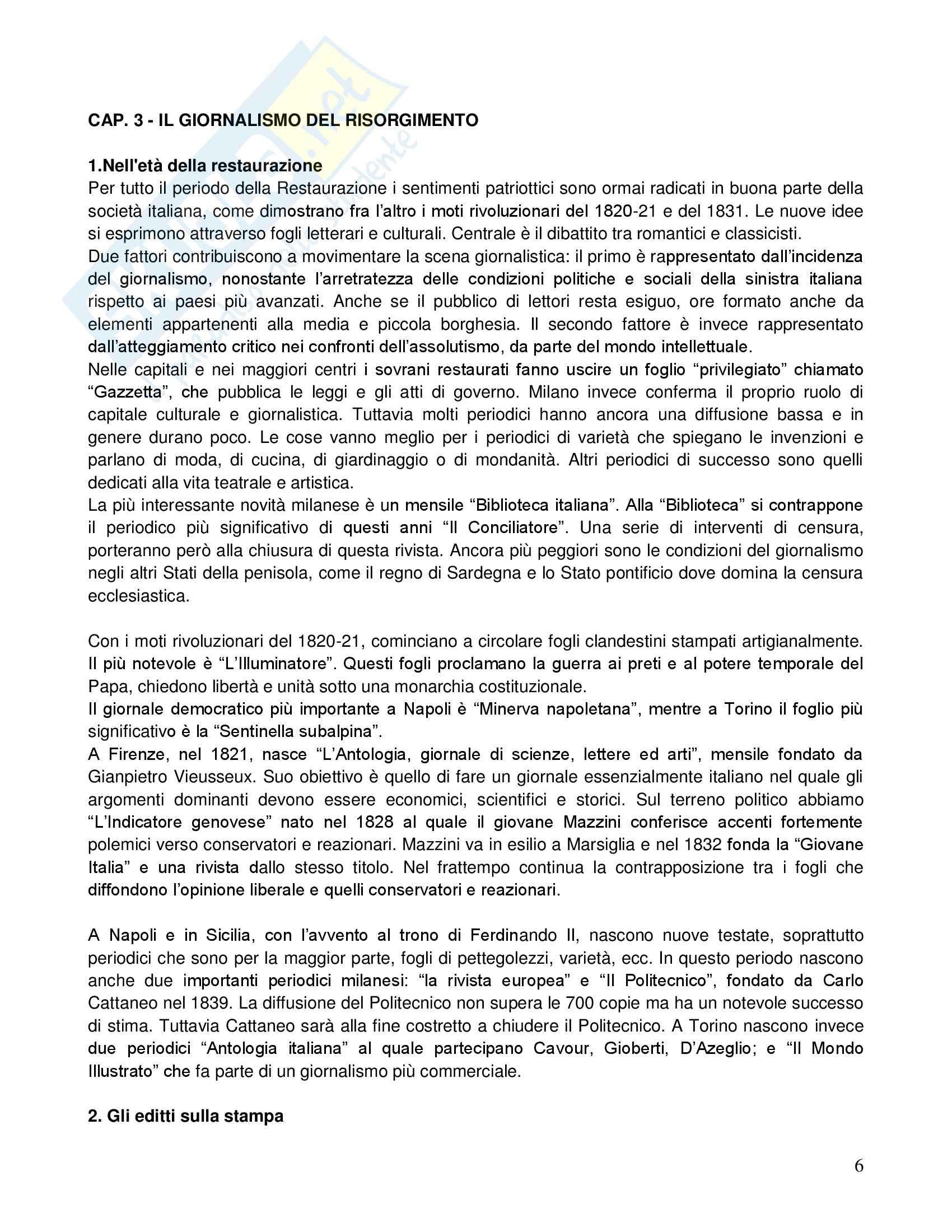 Riassunto esame Storia dei giornalismo, prof. Gallotta, libro consigliato Storia del giornalismo italiano, Murialdi Pag. 6