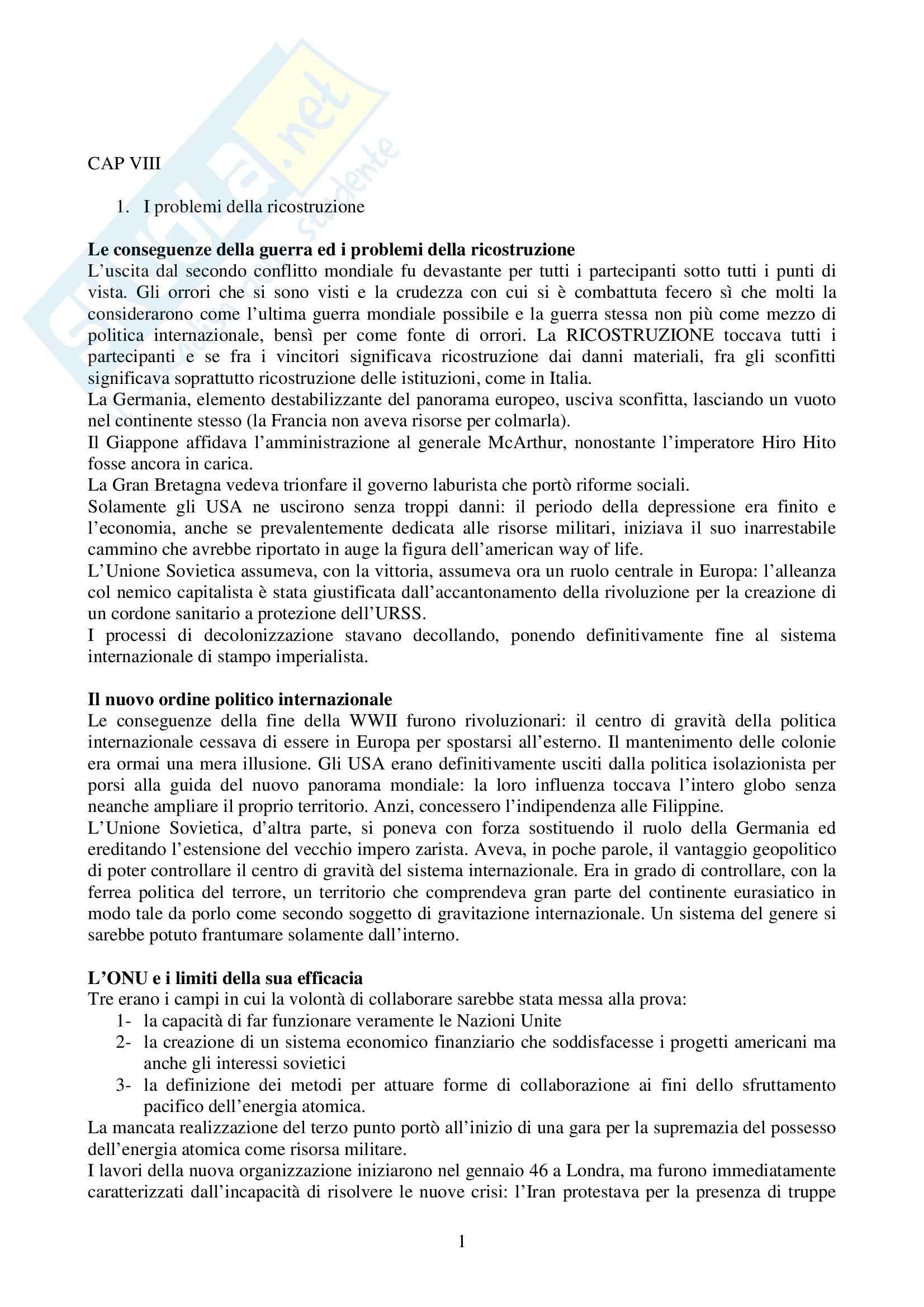 Riassunto esame Storia delle Relazioni Internazionali, prof. Nuti, libro consigliato Storia delle Relazioni Internazionali, di Nolfo