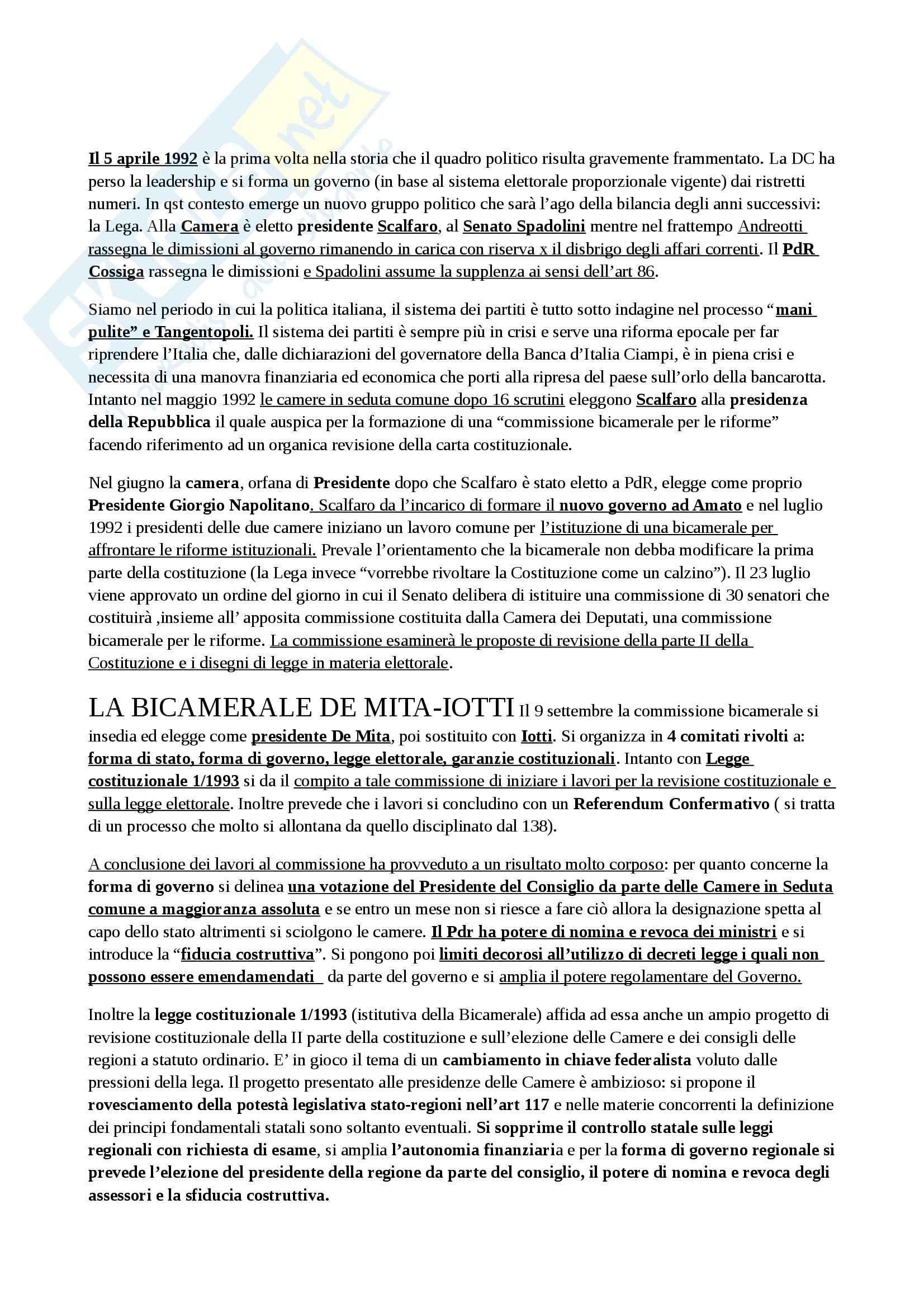 Riassunto esame Diritto Costituzionale, prof. Villone, libro consigliato Diritto Costituzionale storia della costituzione italiana