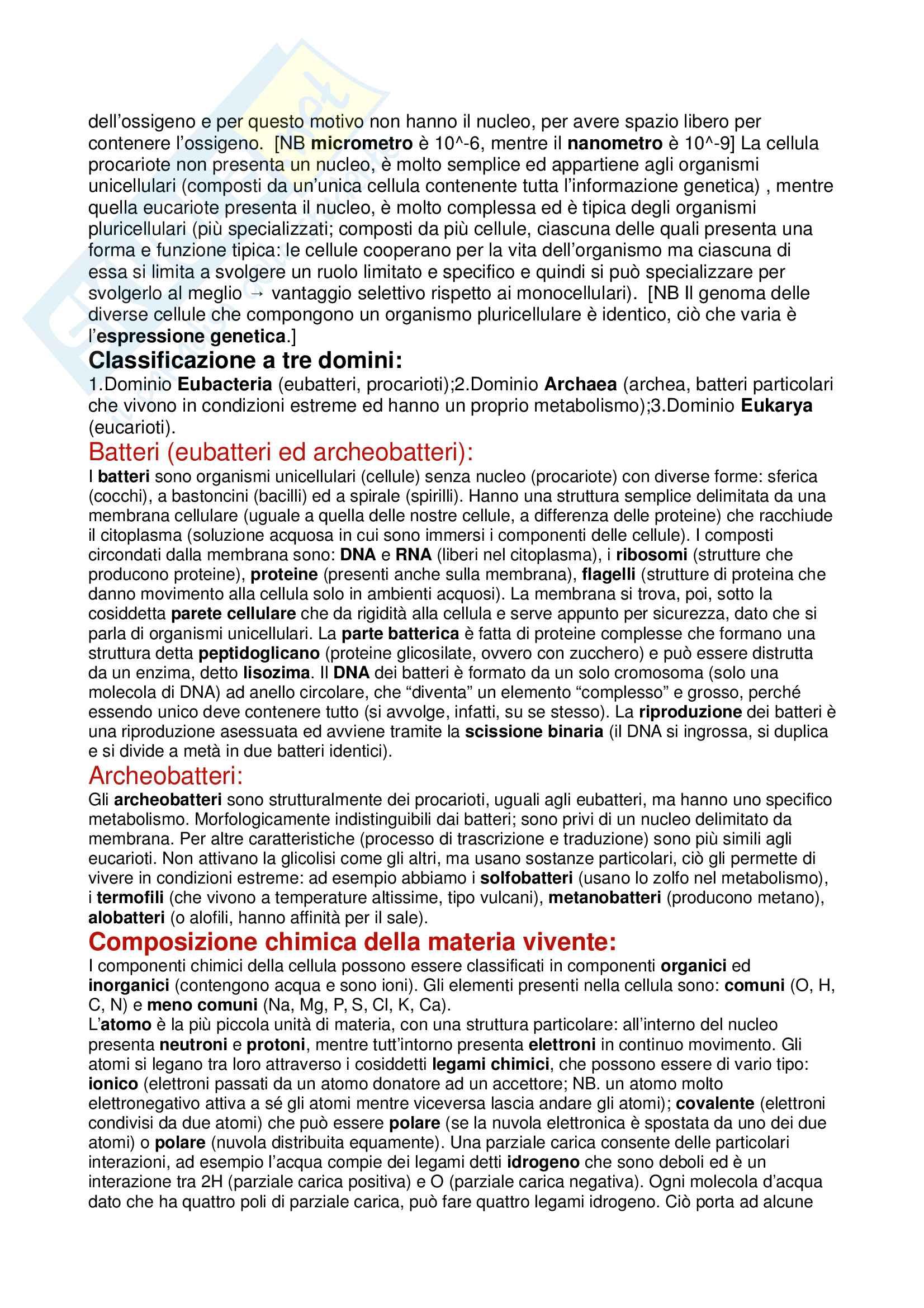 Appunti lezioni corso di biologia e genetica (con annesso genetica del comportamento) Pag. 2