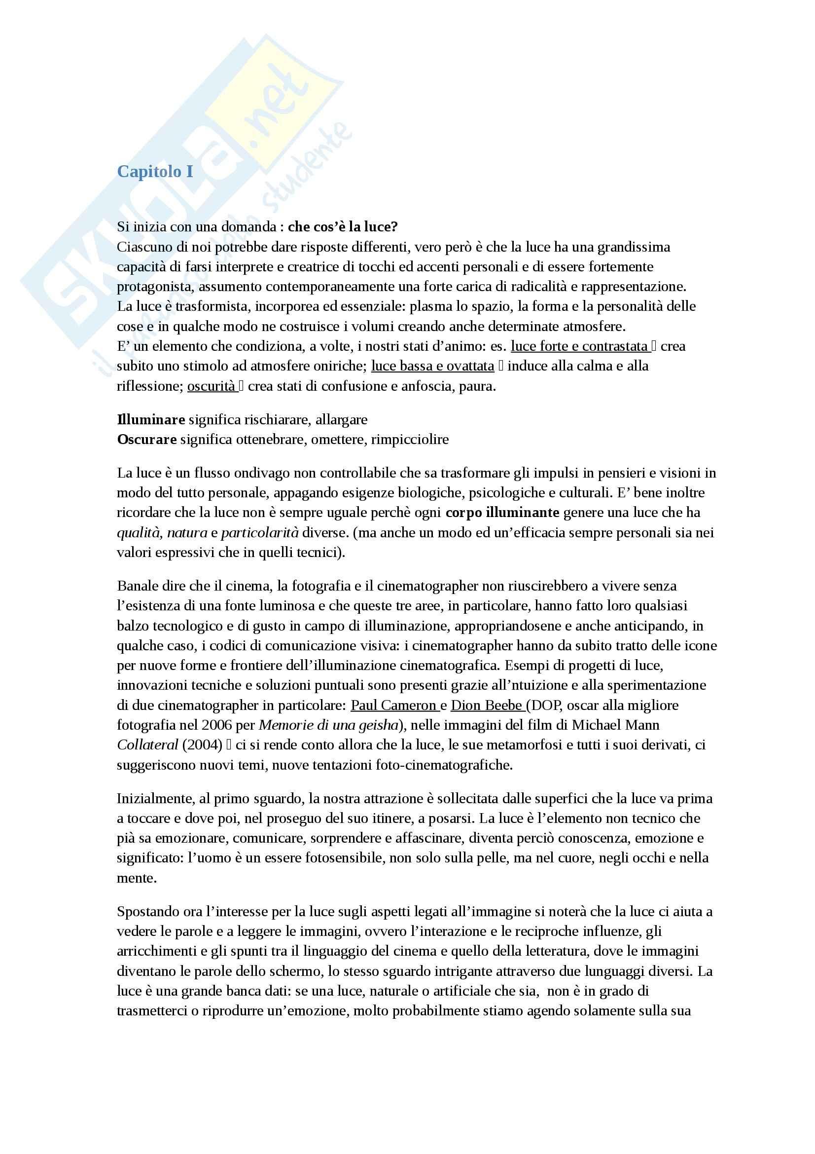 Riassunto esame Cinematografia, prof. Schiavon, libro consigliato Parole illuminanti, Visconti