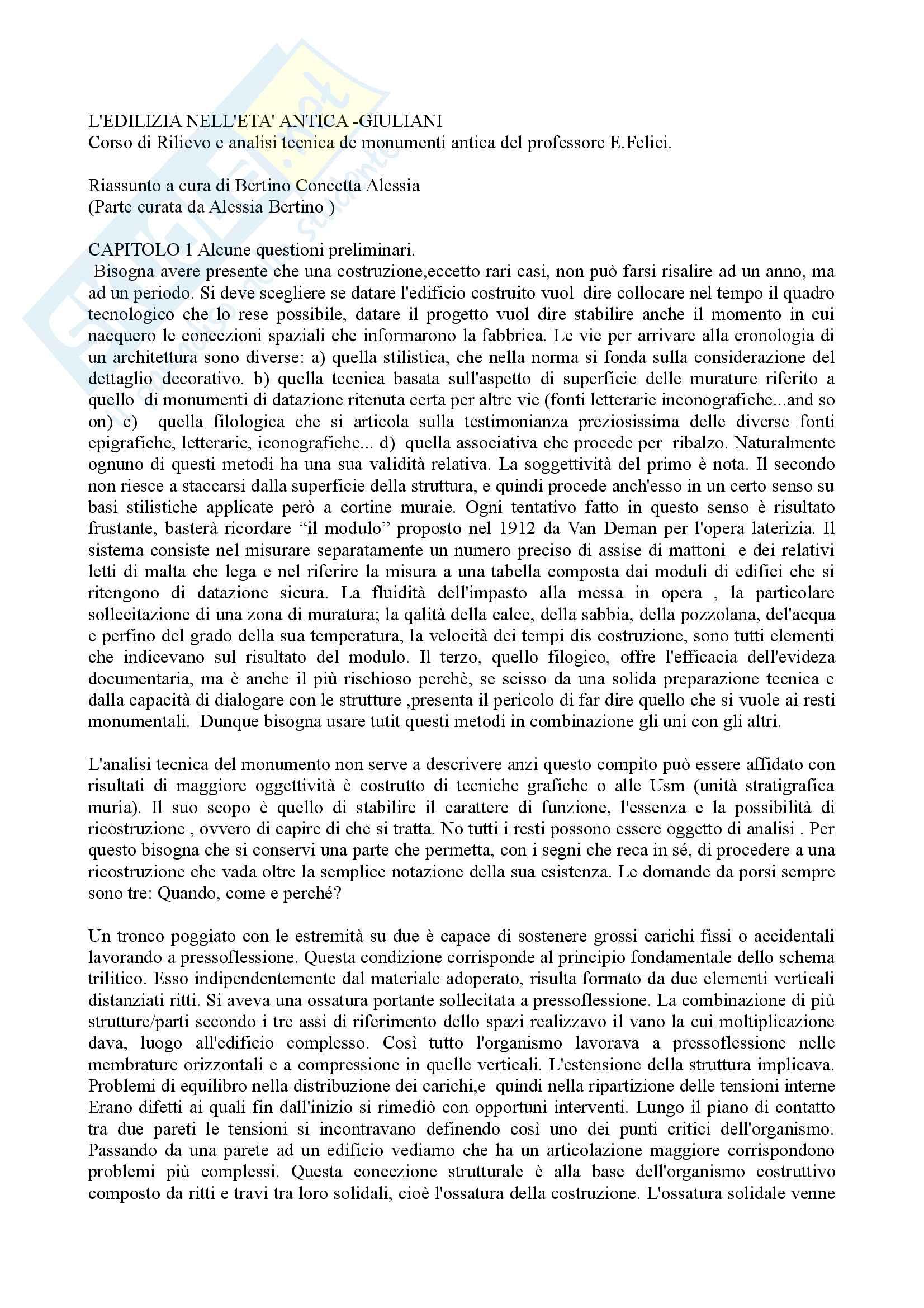 Riassunto esame rilievo e analisi tecnica dei monumenti antichi. prof. Felici