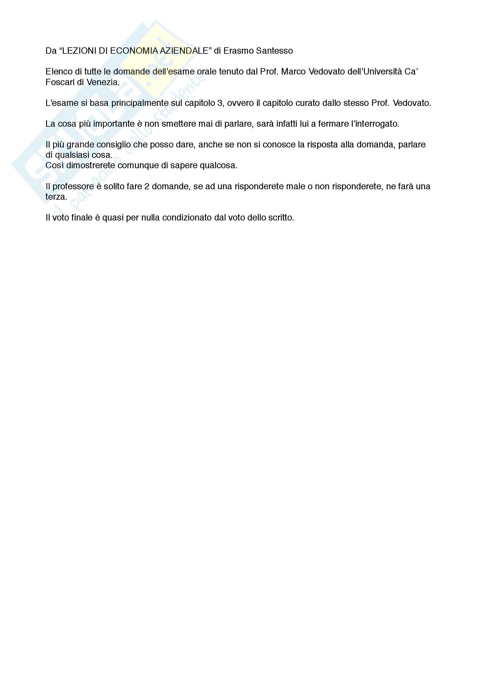 Economia Aziendale - Domande esame orale