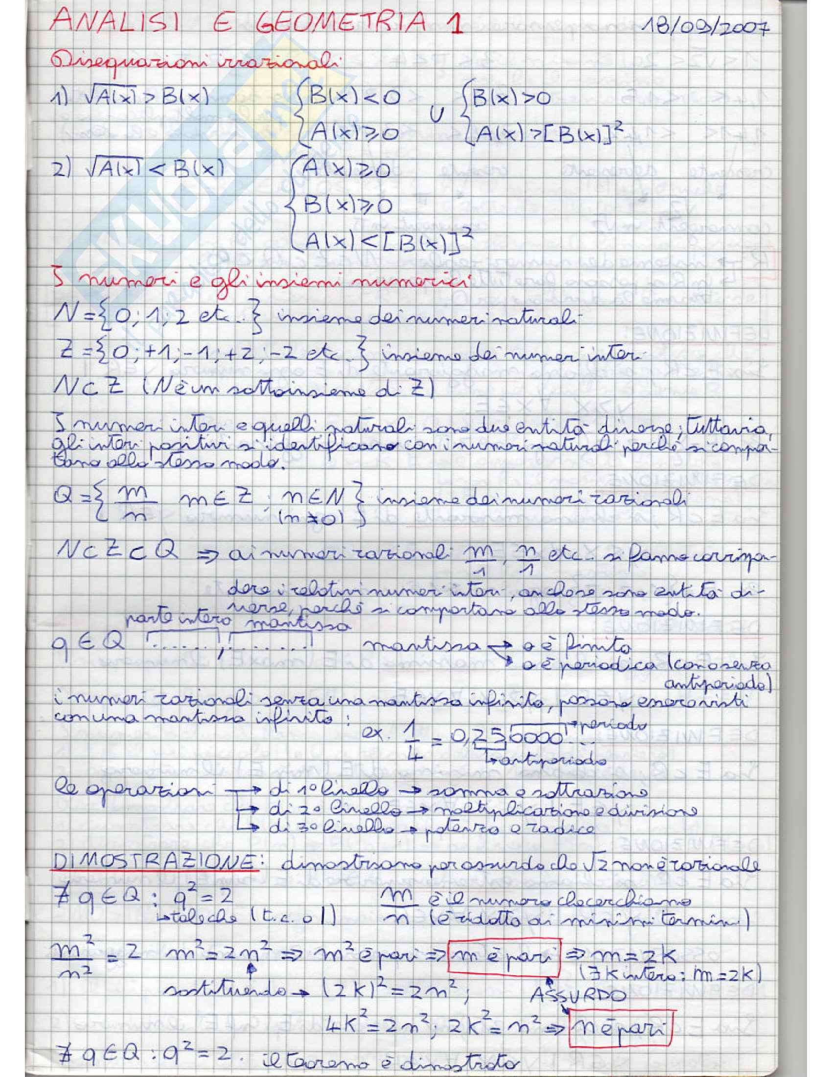 Analisi e geometria 1 - appunti Pag. 1