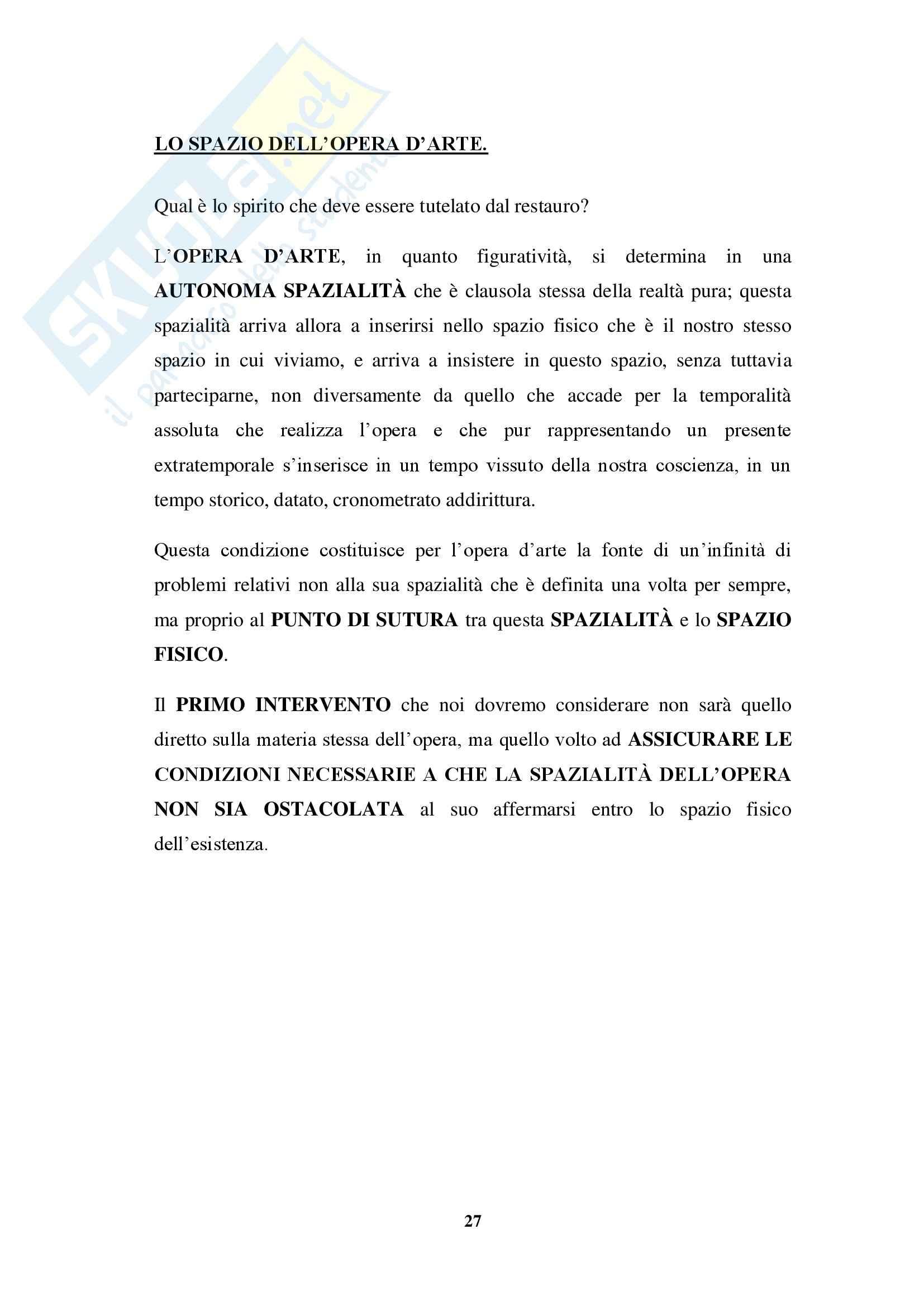 Riassunto esame Teoria e Storia del Restauro, prof. Salerno, libro consigliato Teoria del Restauro, Brandi: seconda parte Pag. 2