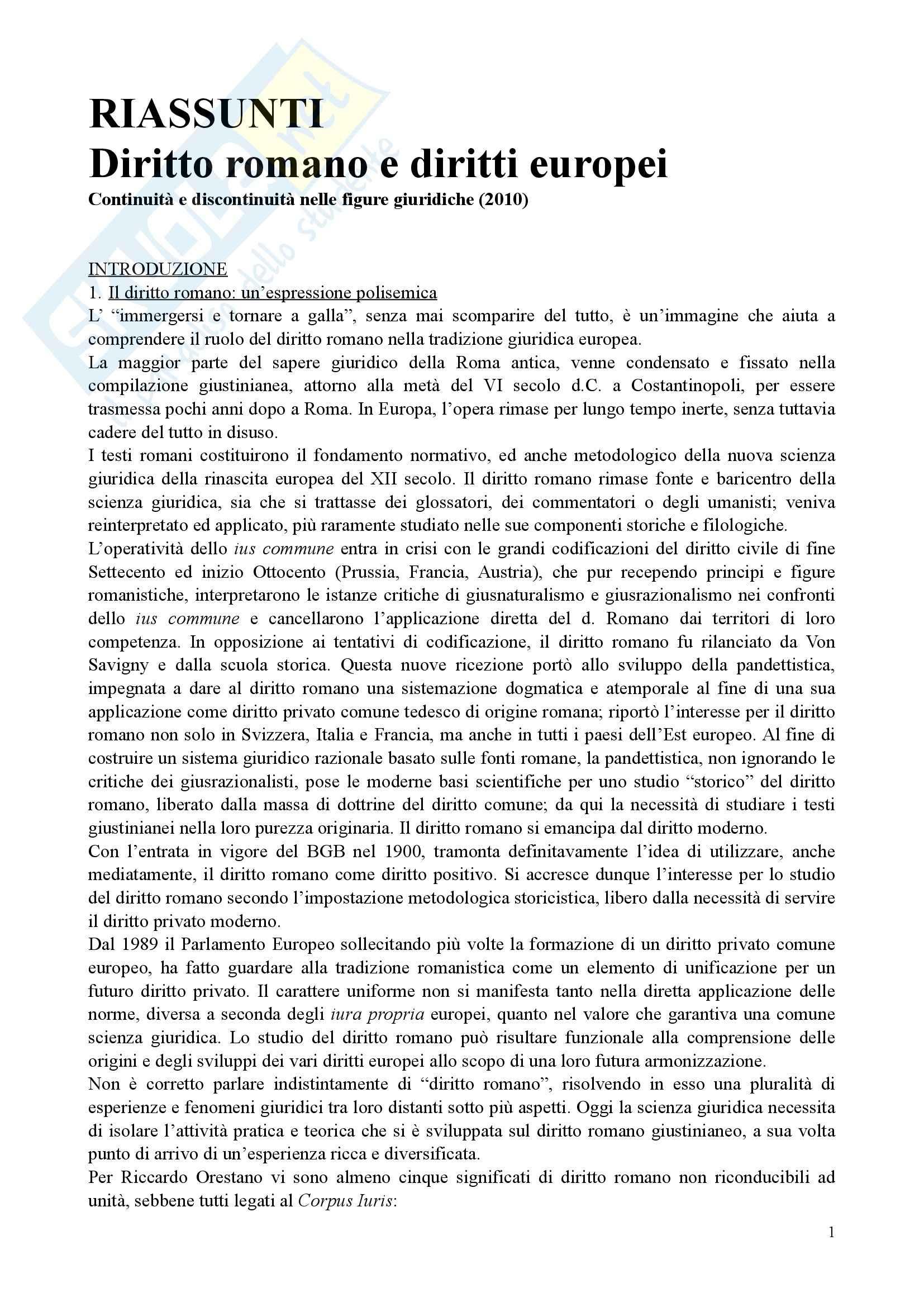 Diritto romano e diritti europei