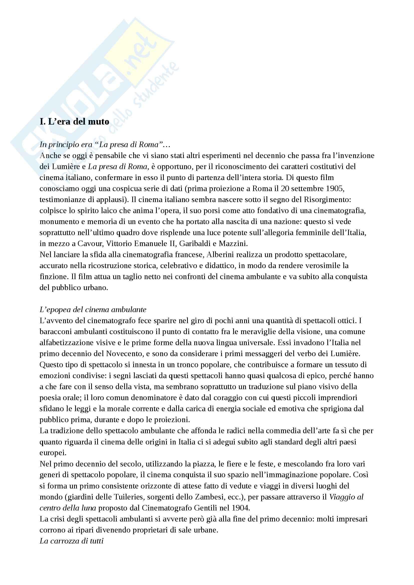 Riassunto esame Storia del cinema, prof. Della Torre, libro consigliato Guida alla storia del cinema italiano, Brunetta