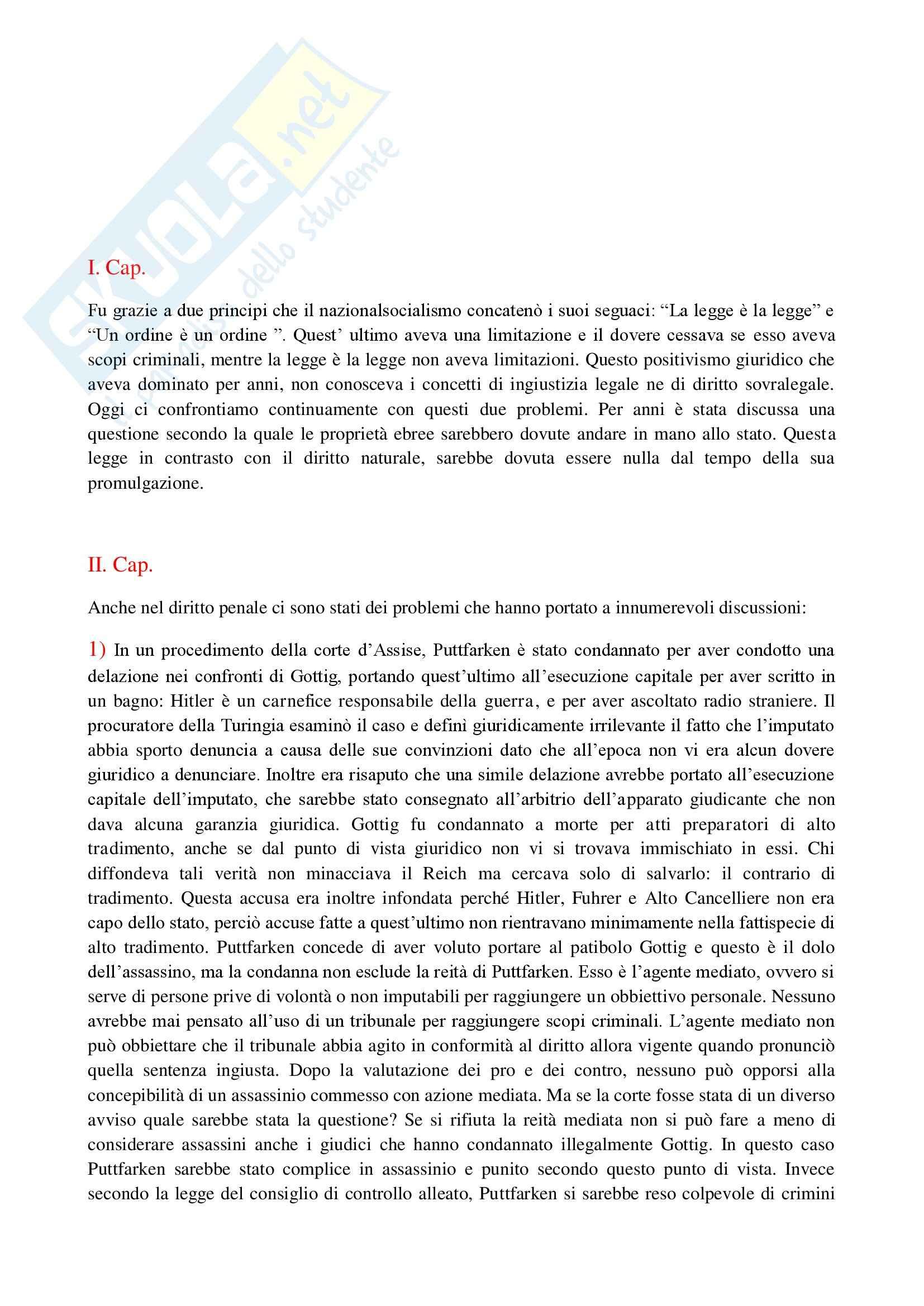 Riassunto esame Filosofia del Diritto, prof. Pintore, libro consigliato Ingiustizia Legale e Diritto Sovralegale, Radbruck
