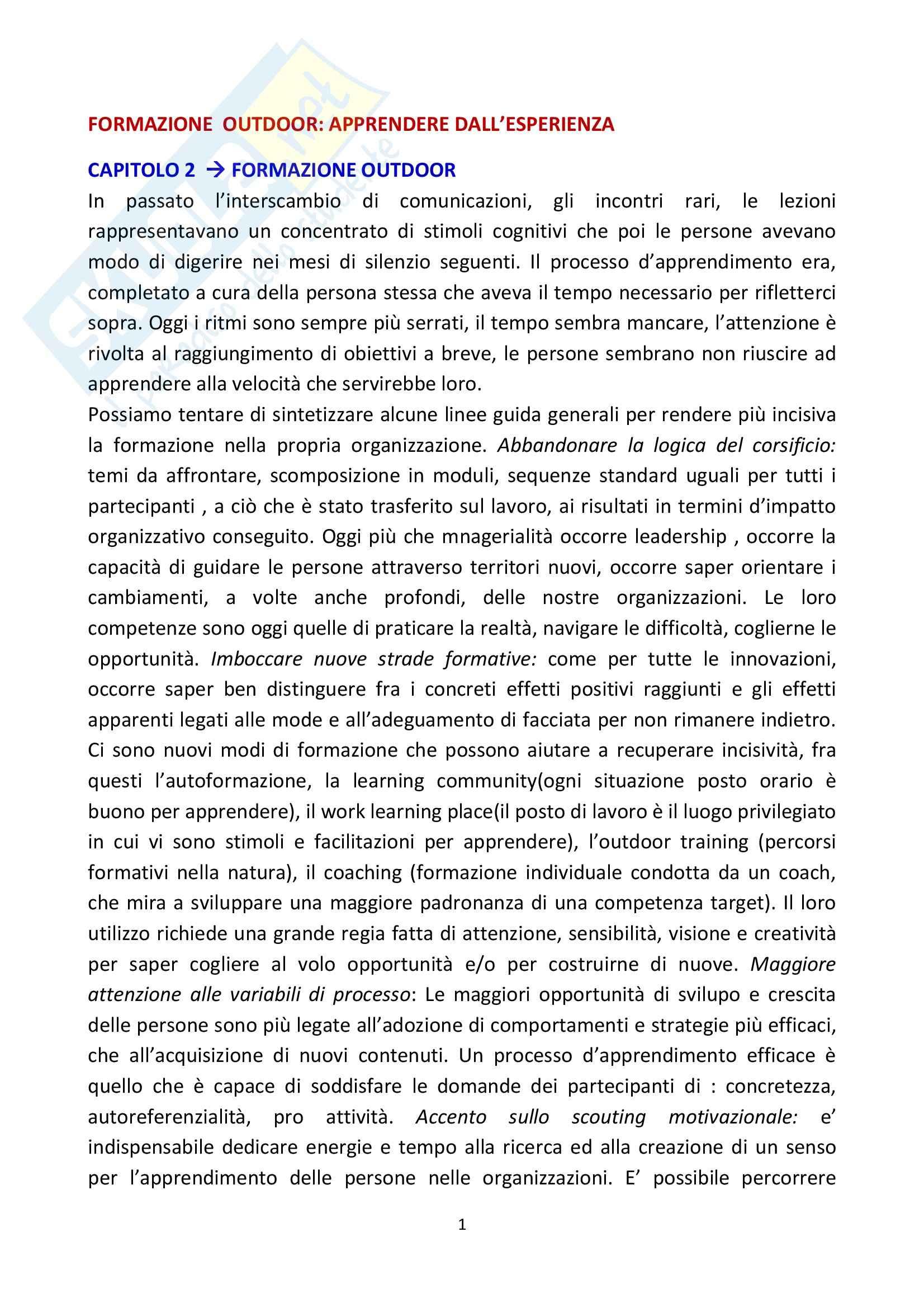 Riassunto esame Conflitti nei Gruppi Sociali, prof. Melotti, libro consigliato Formazione Outdoor, Rotondi