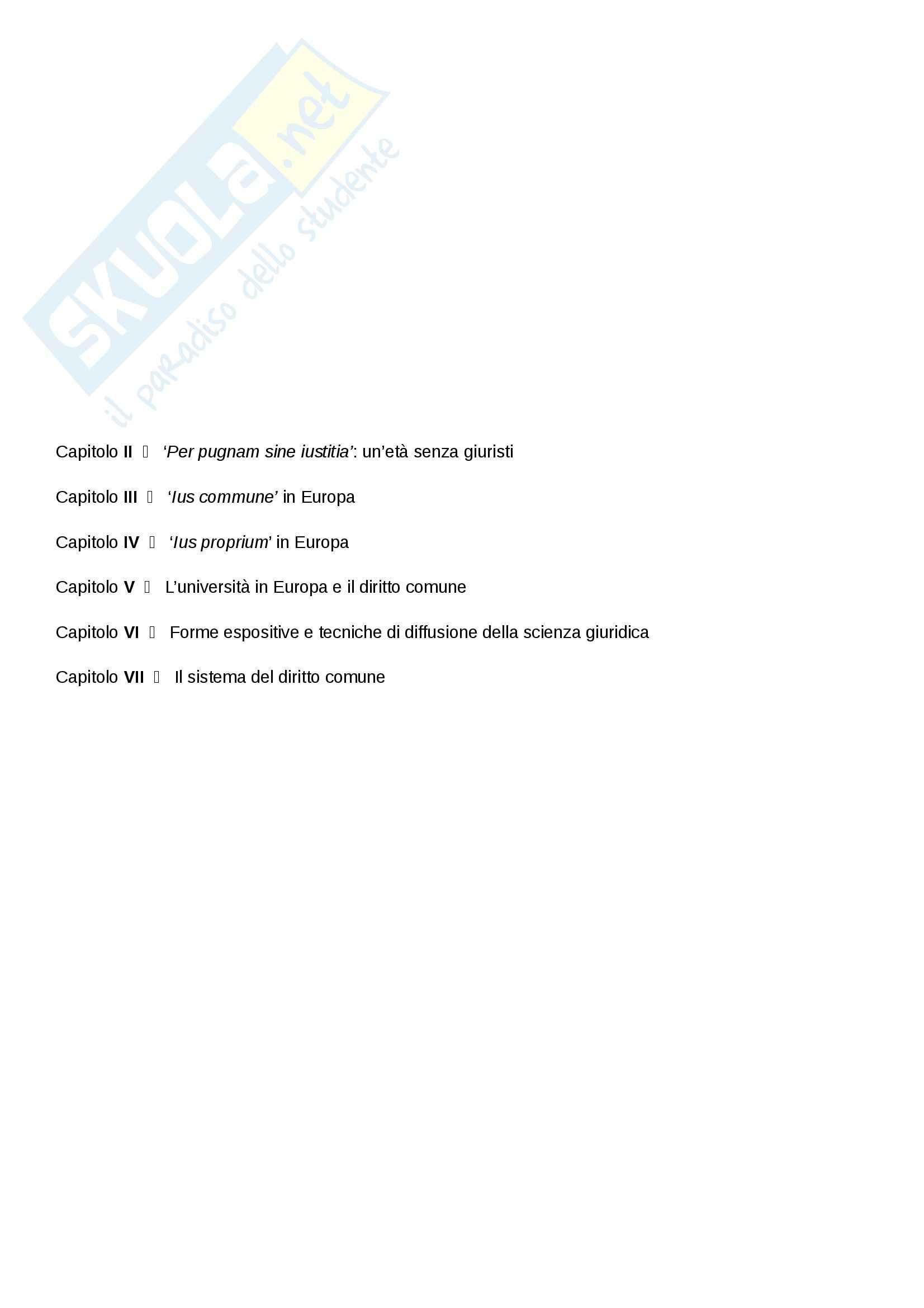 Riassunto esame Diritto, prof. Cavina, libro consigliato L'Europa del diritto comune, Bellomo