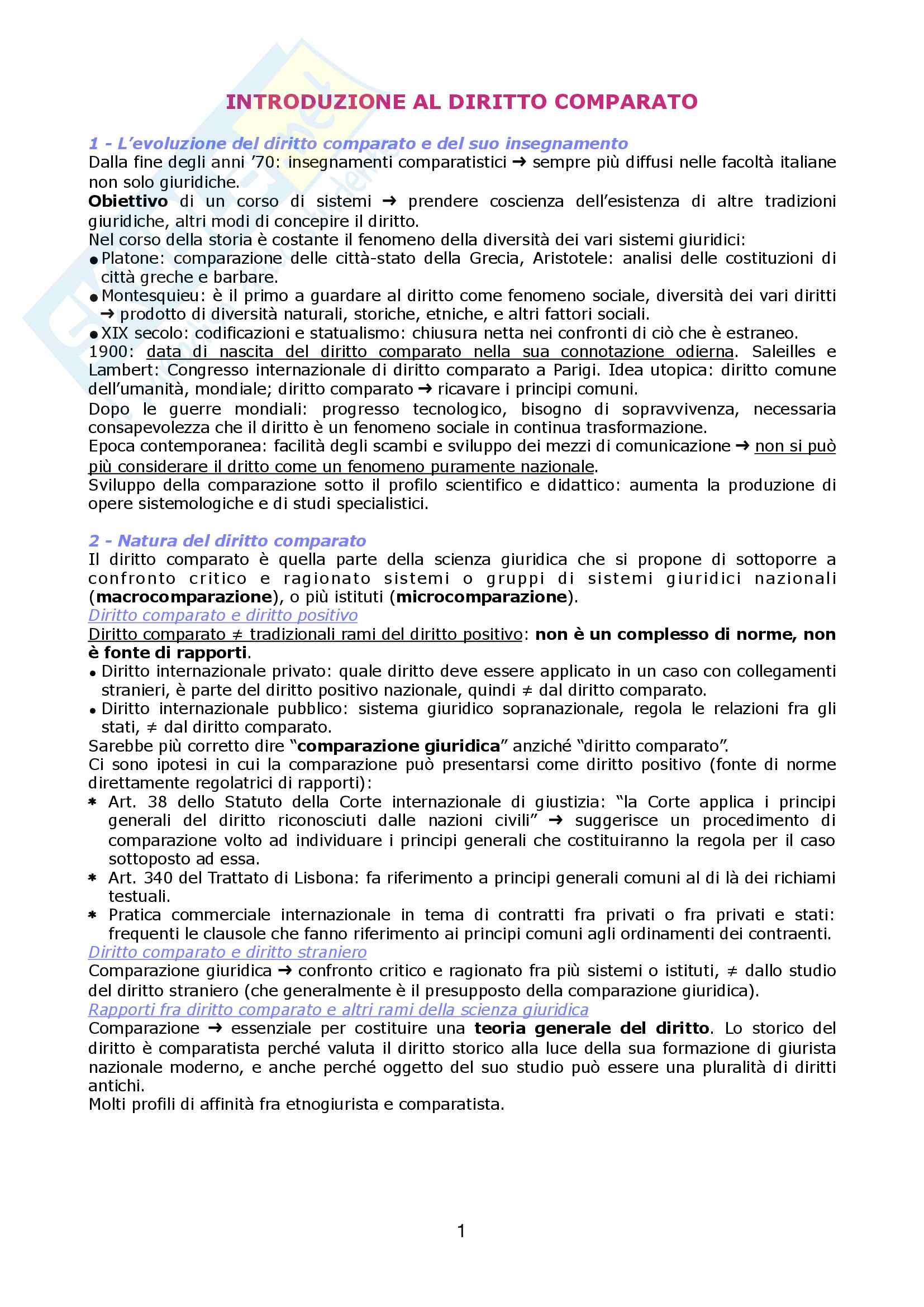 Riassunto esame sistemi giuridici comparati, prof. Sonelli, libro consigliato La tradizione giuridica occidentale, Varano, Barsotti