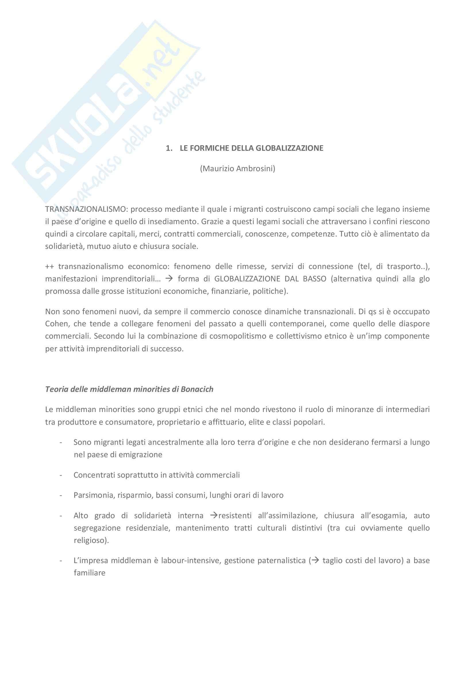 Riassunto esame Scienze Politiche, prof. Ambrosini, libro consigliato Intraprendere fra due mondi, Ambrosini