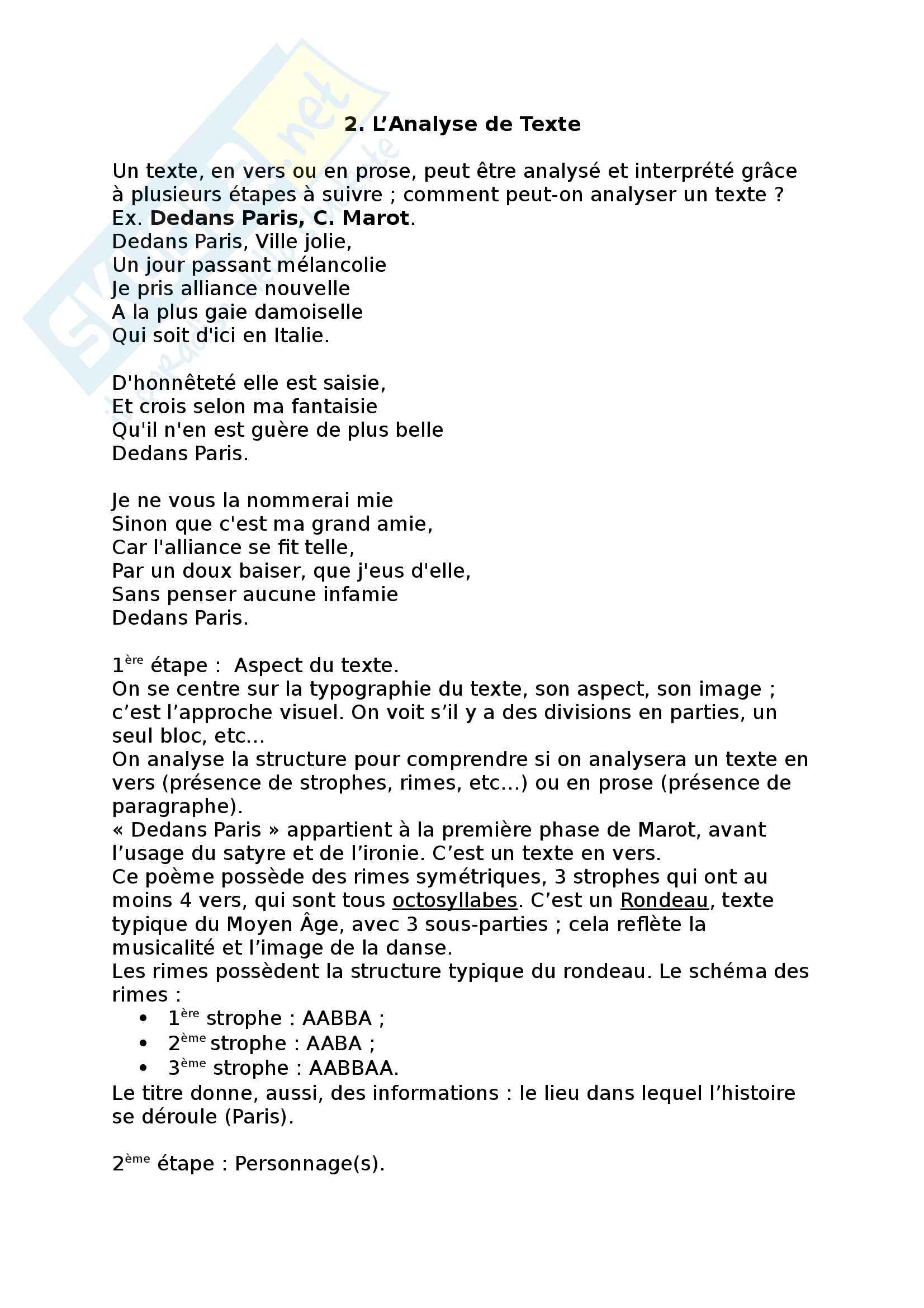 2. L' Analyse de Texte (Ex Dedans Paris, C. Marot)