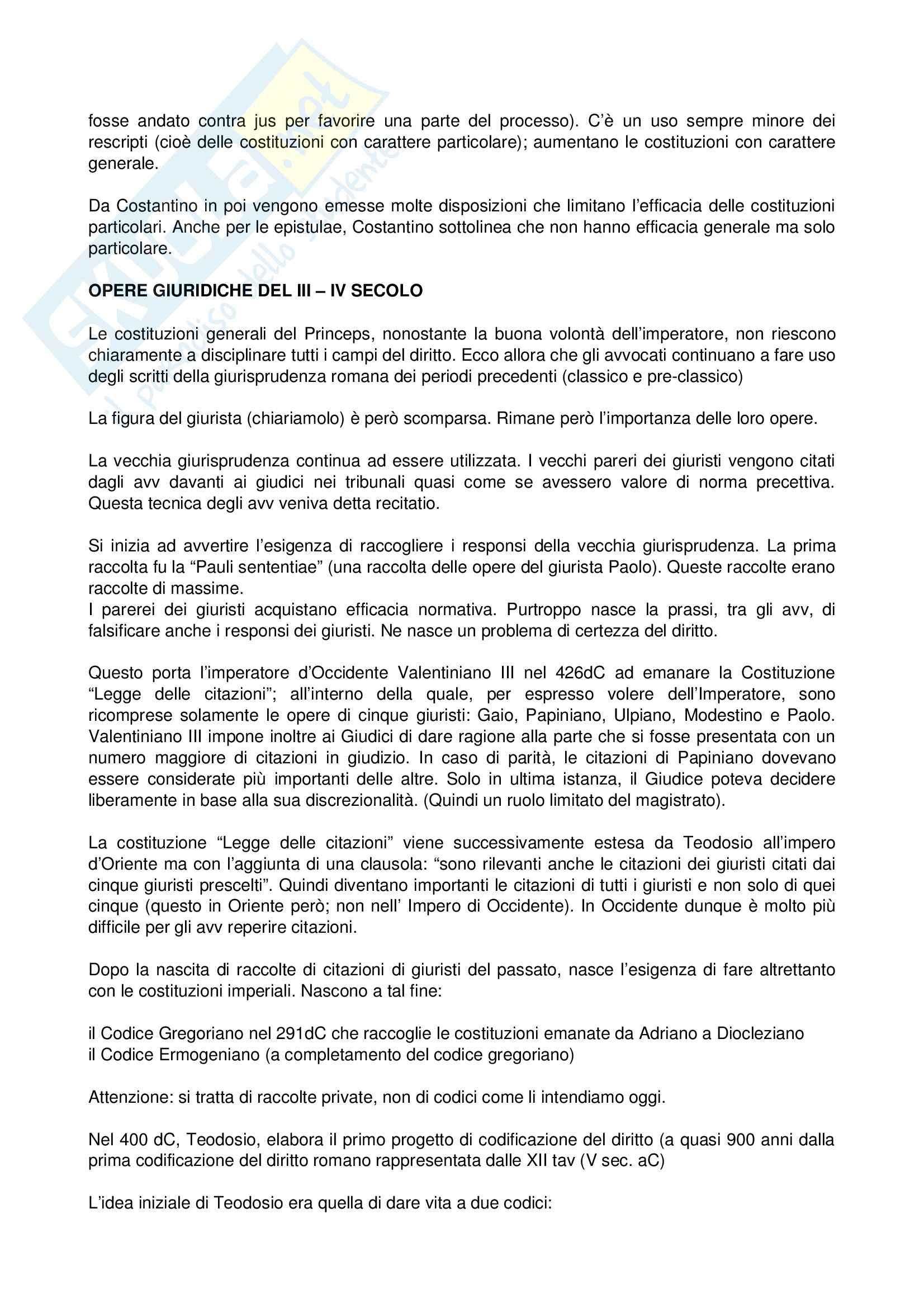 Diritto romano - le fonti del diritto nel periodo post-classico e giustinianeo Pag. 2