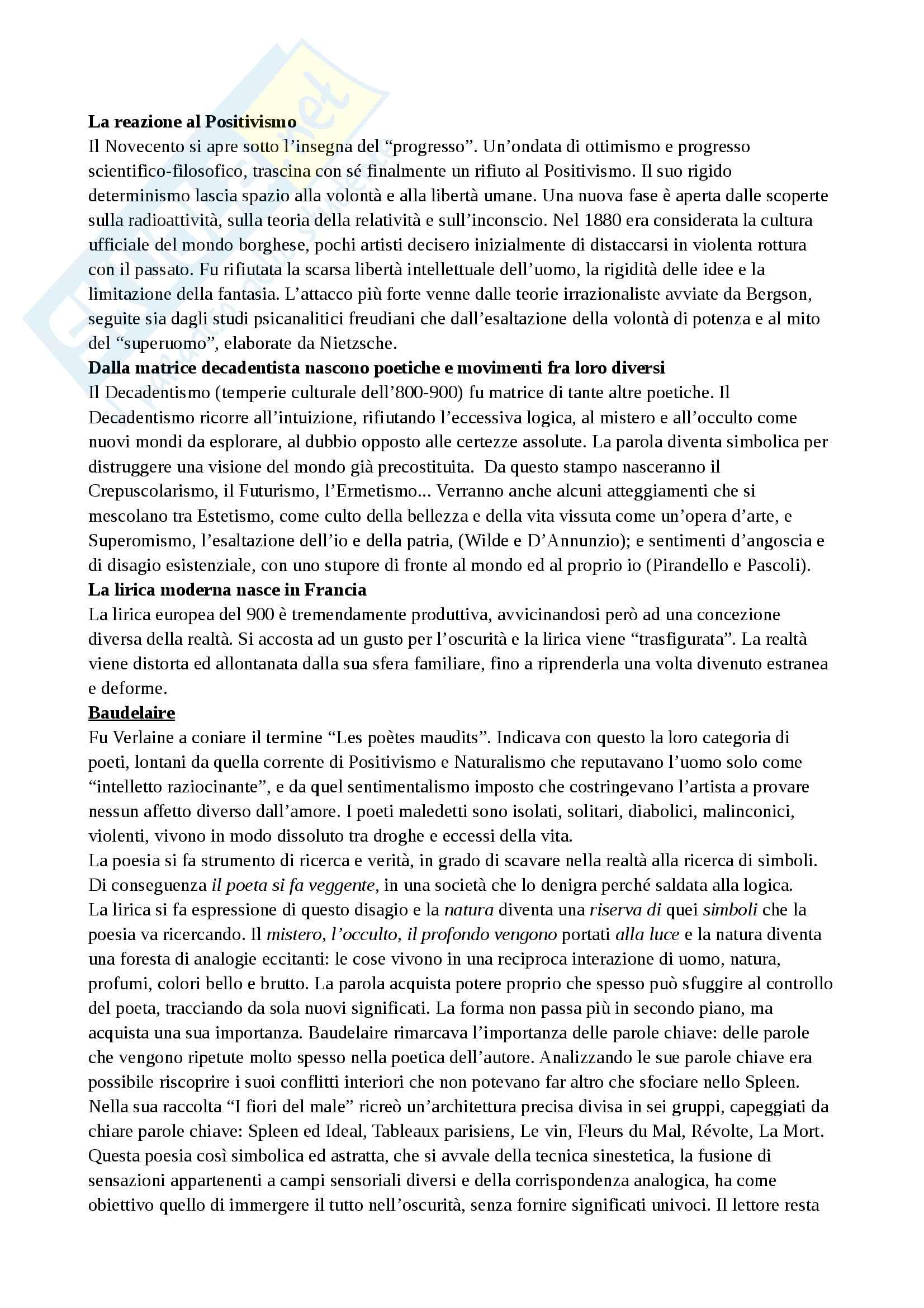 Riassunto esame letteratura contemporanea, libro consigliato Come leggere il novecento letterario italiano, integrato da appunti