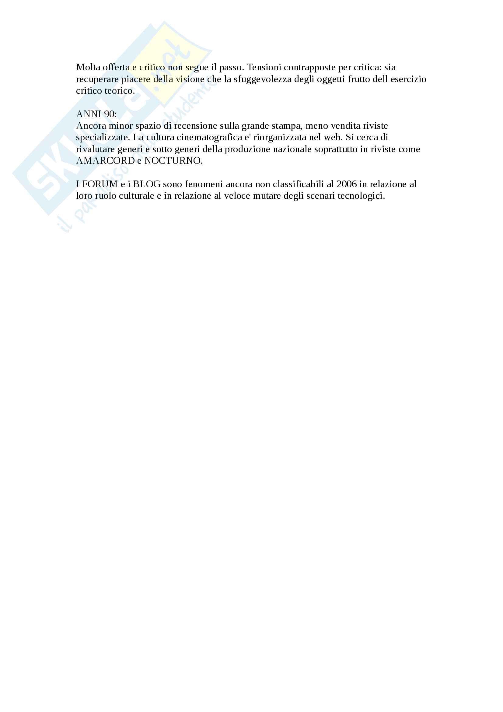 Riassunto Esame critica cinematografica. Libro Consigliato Bisoni, La critica cinematografica metodo - prime 55 Pagg. Pag. 6