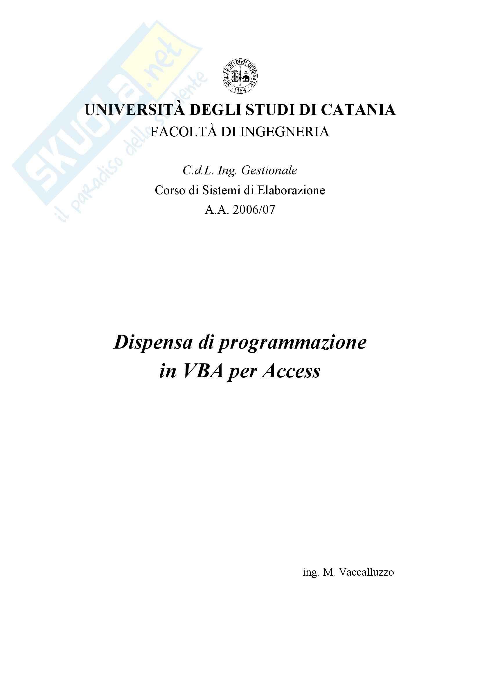 Sistemi di elaborazione - programmazione in Access, VBA