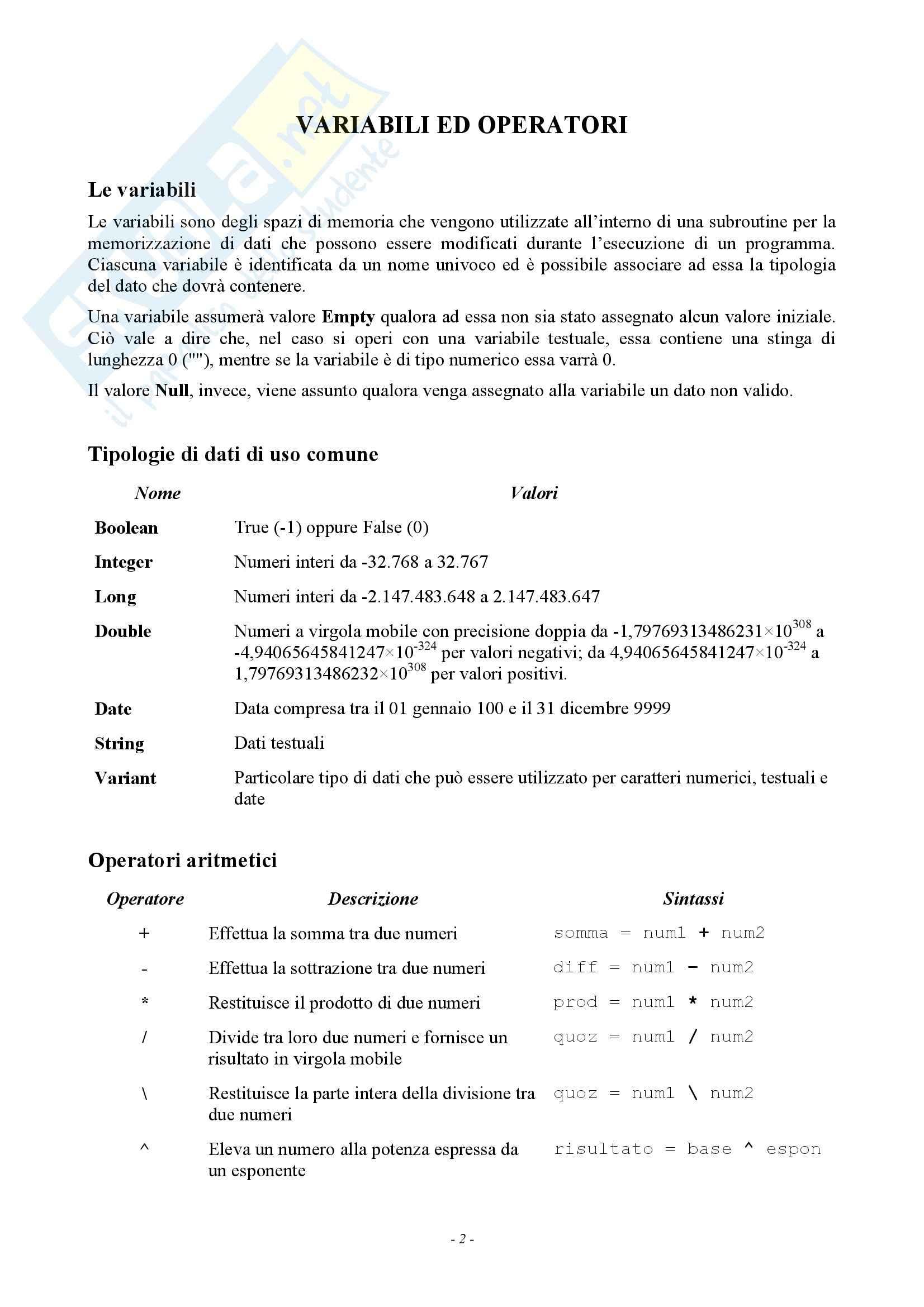 Sistemi di elaborazione - programmazione in Access, VBA Pag. 2