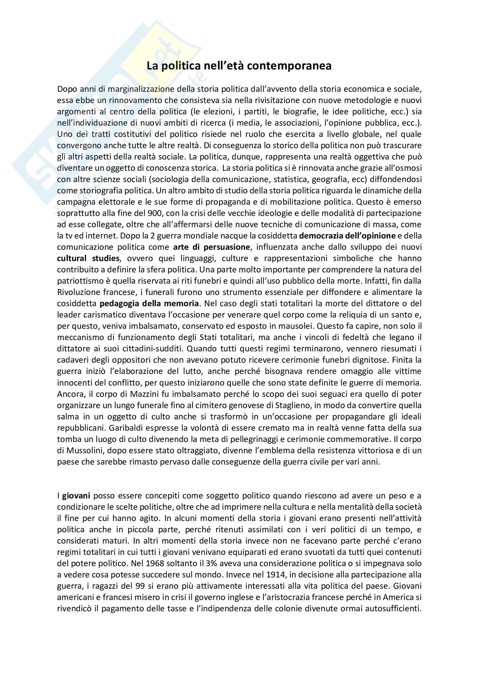 Riassunto esame Storia Contemporanea, prof. Romano, libro consigliato: La politica nell'età contemporanea, Baioni e Conti