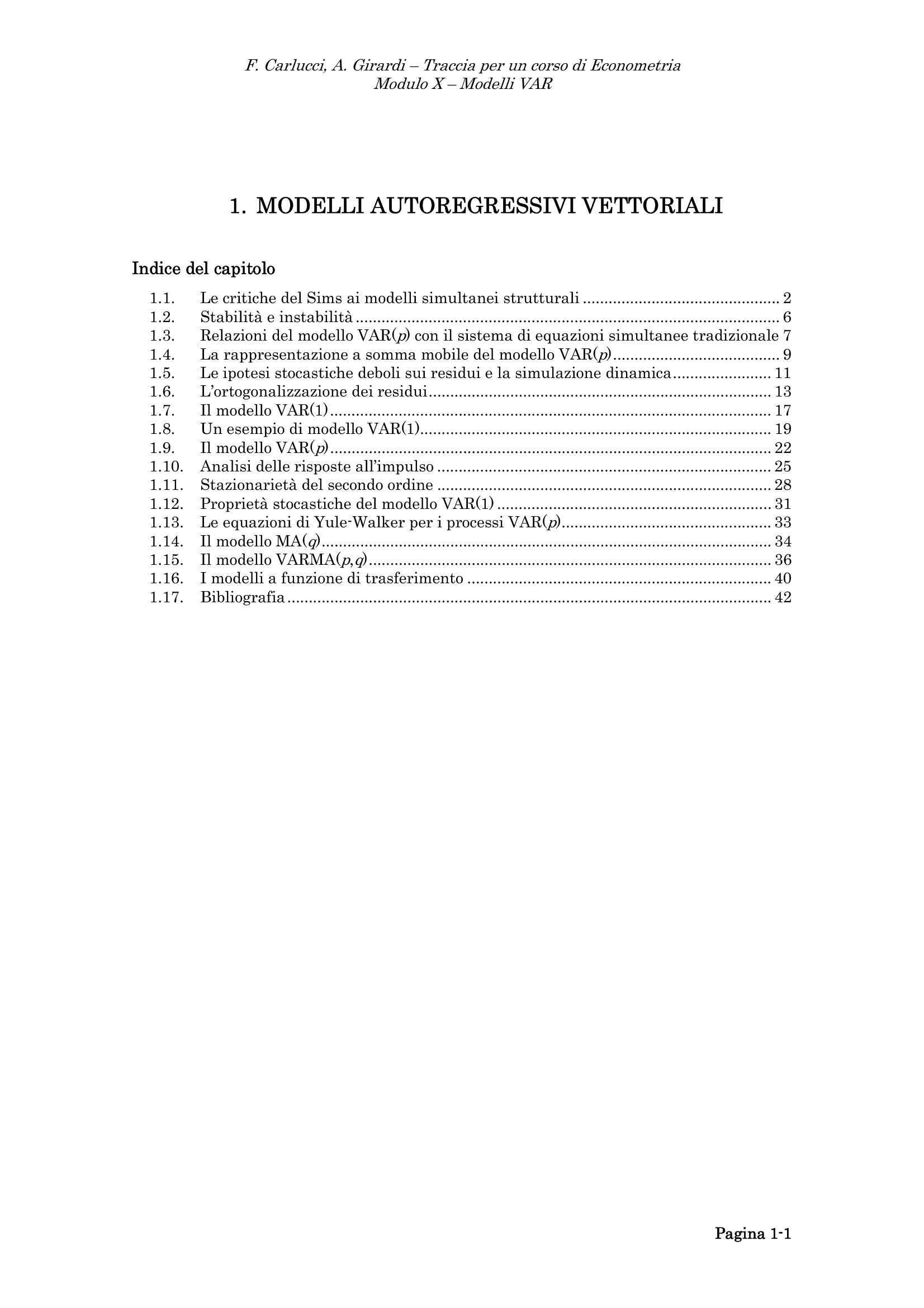 Modelli autoregressivi vettoriali