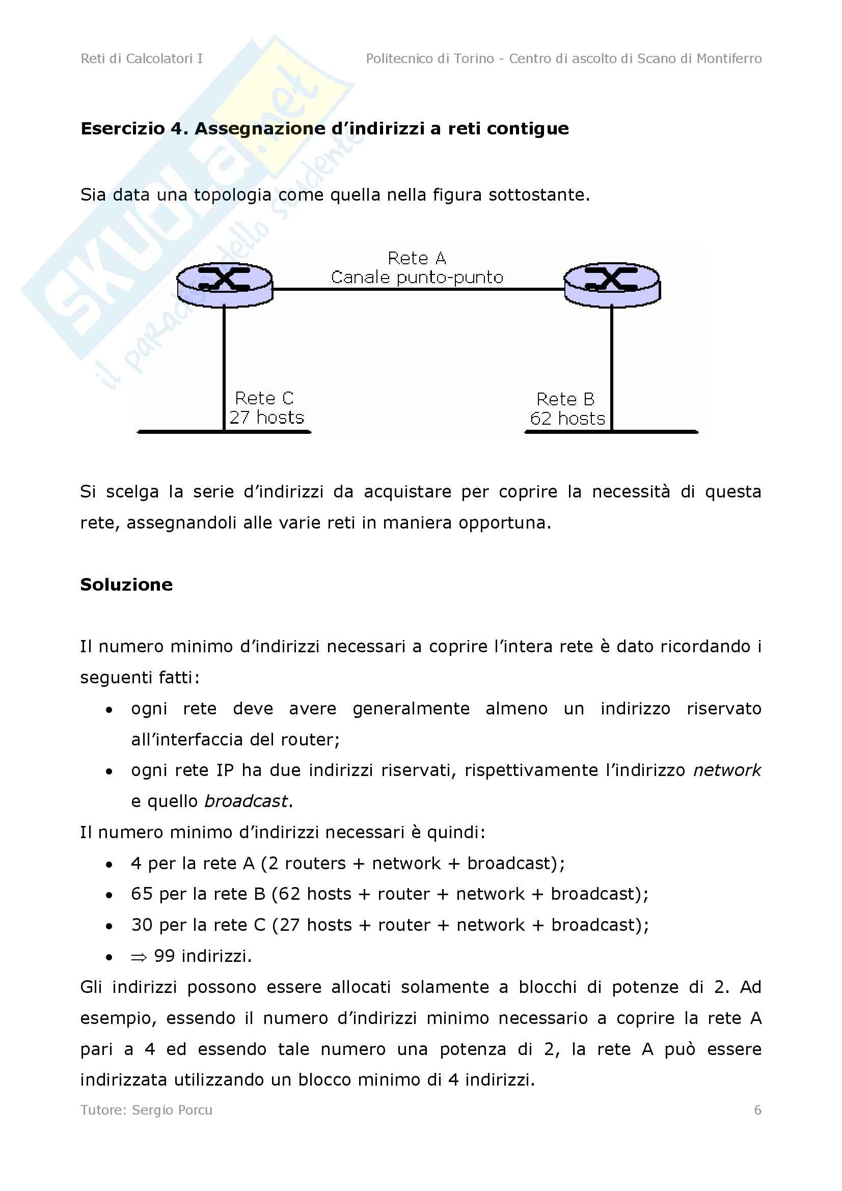 Reti di Calcolatori - esercizi d'indirizzamento per reti IP Pag. 6