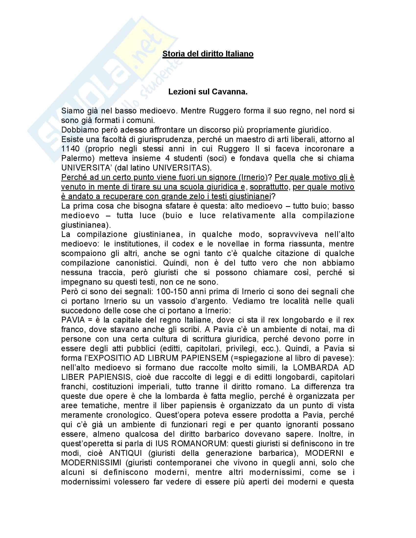 Storia del diritto italiano medievale e moderno