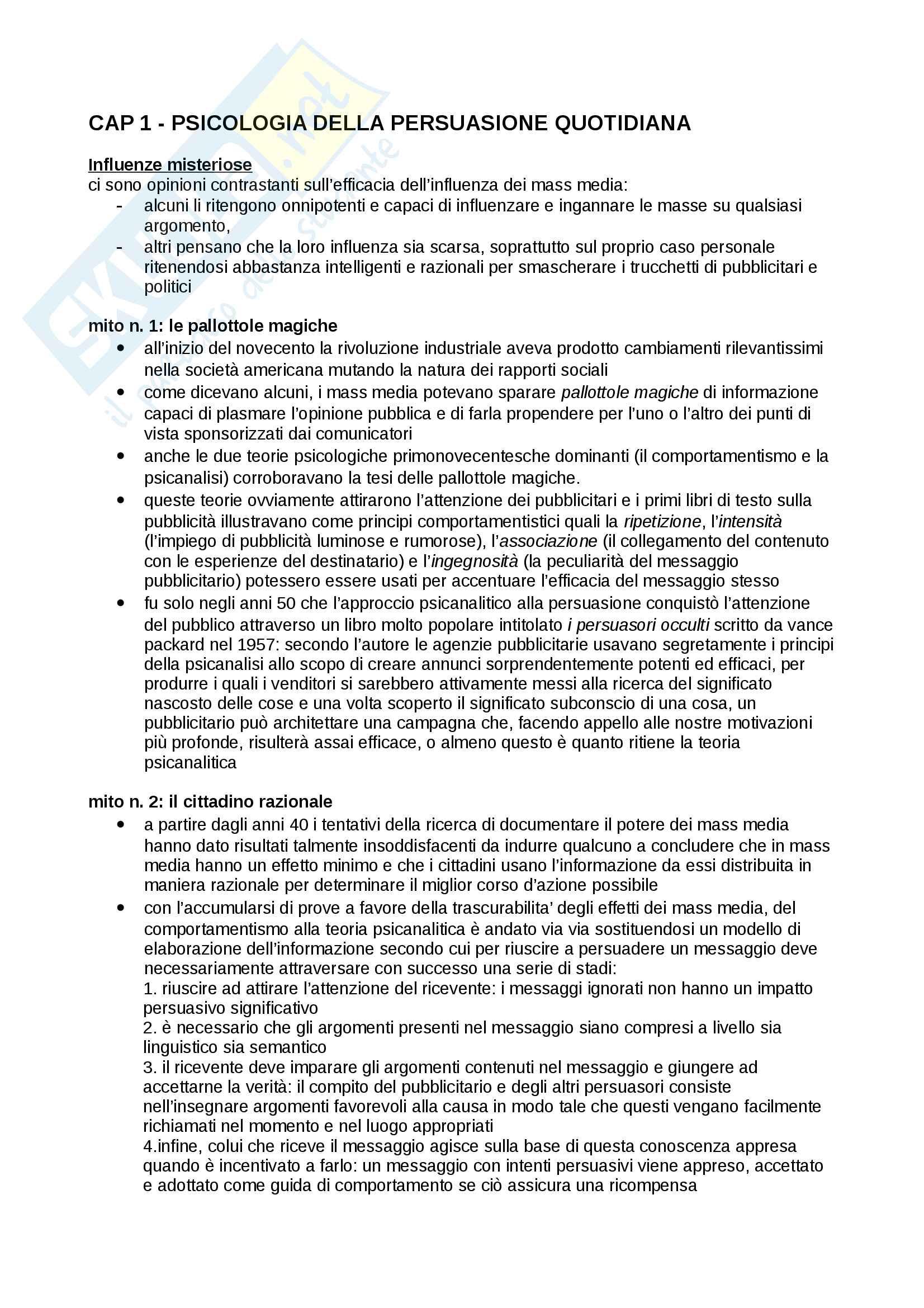 Riassunto esame comunicazione e persuasione, prof. Arcuri, libro consigliato L'età della propaganda. Usi e abusi quotidiani della persuasione di Pratkanis, A. Aronson, E.