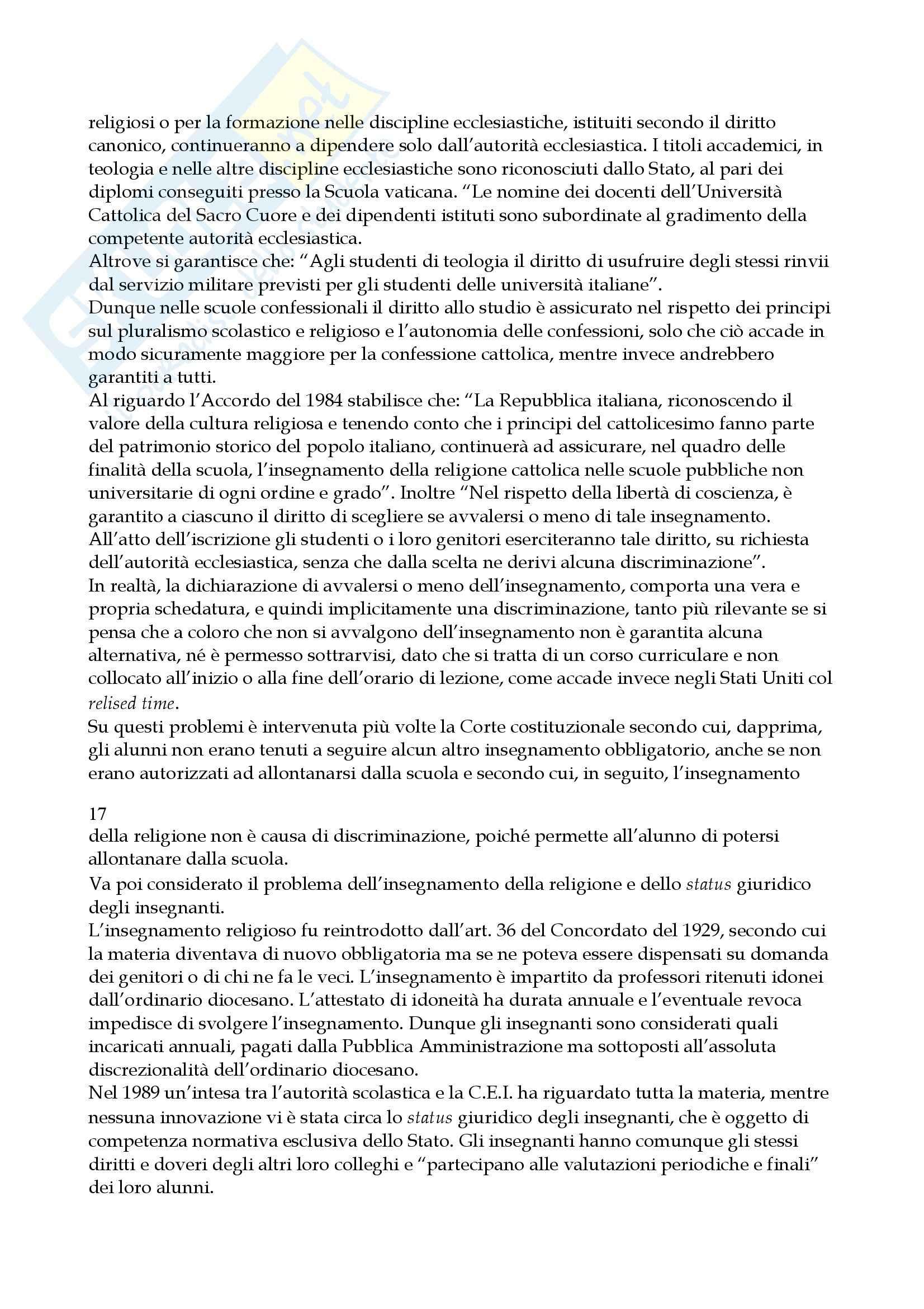 Riassunto esame Diritto Ecclesiastico, prof. Dammacco, libro consigliato Manuale di Diritto Ecclesiastico, Tedeschi Pag. 16